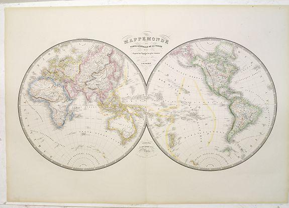 FREMIN, A.R. / LOGEROT, A. -  Mappemonde ou carte générale de la Terre dressée d'après les voyages les plus récents et des cartes de laMarine. . .