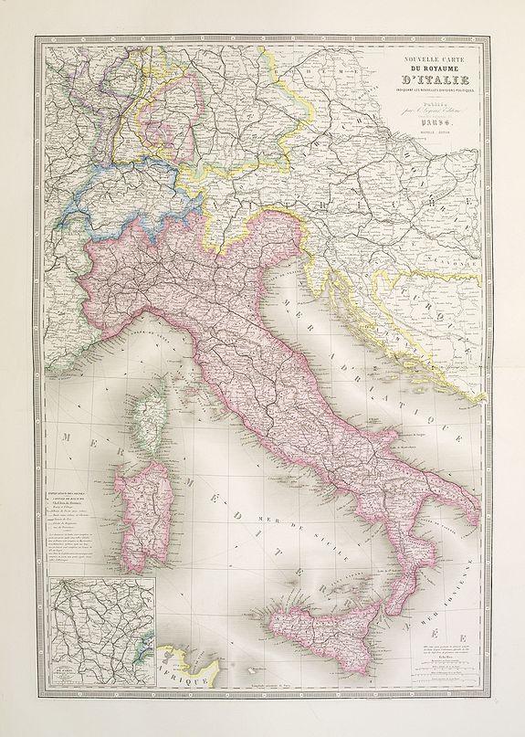 LOGEROT, A. -  Nouvelle carte du royaume d'Italie indiquant les nouvelles divisions politiques. . . Nouvelle edition.