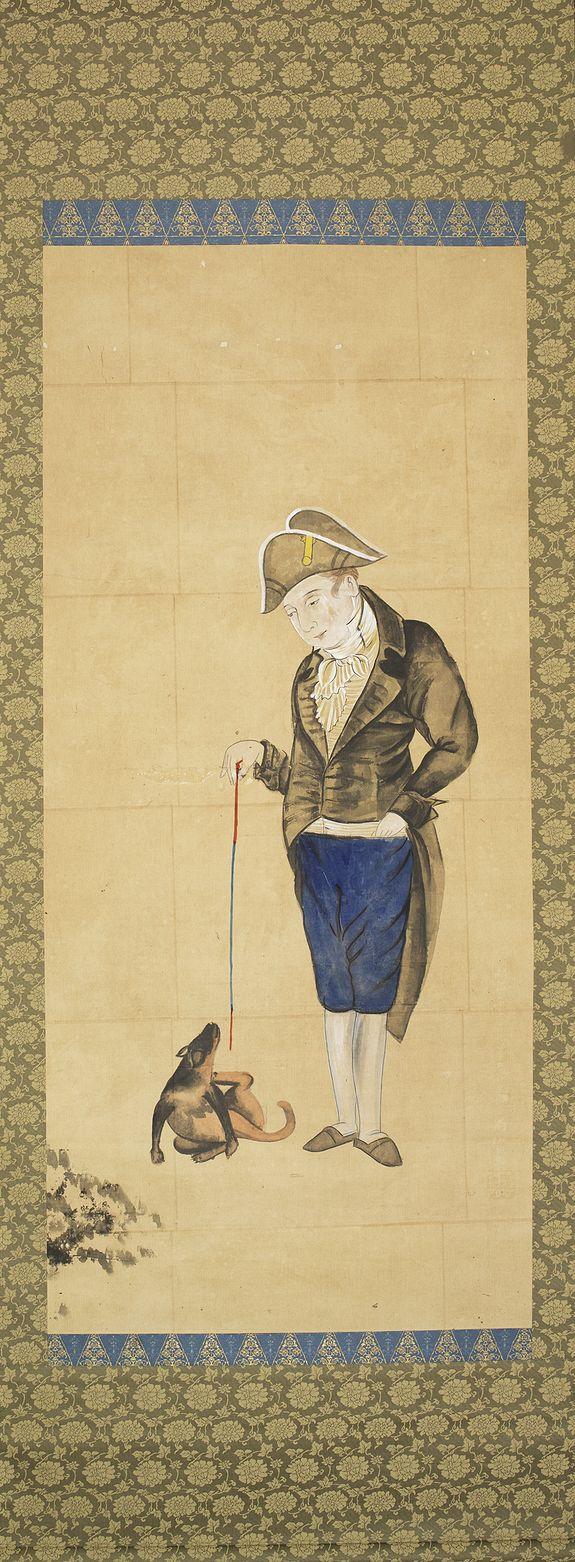 NAGASAKI SCHOOL -  Hendrik Doeff and his dog.