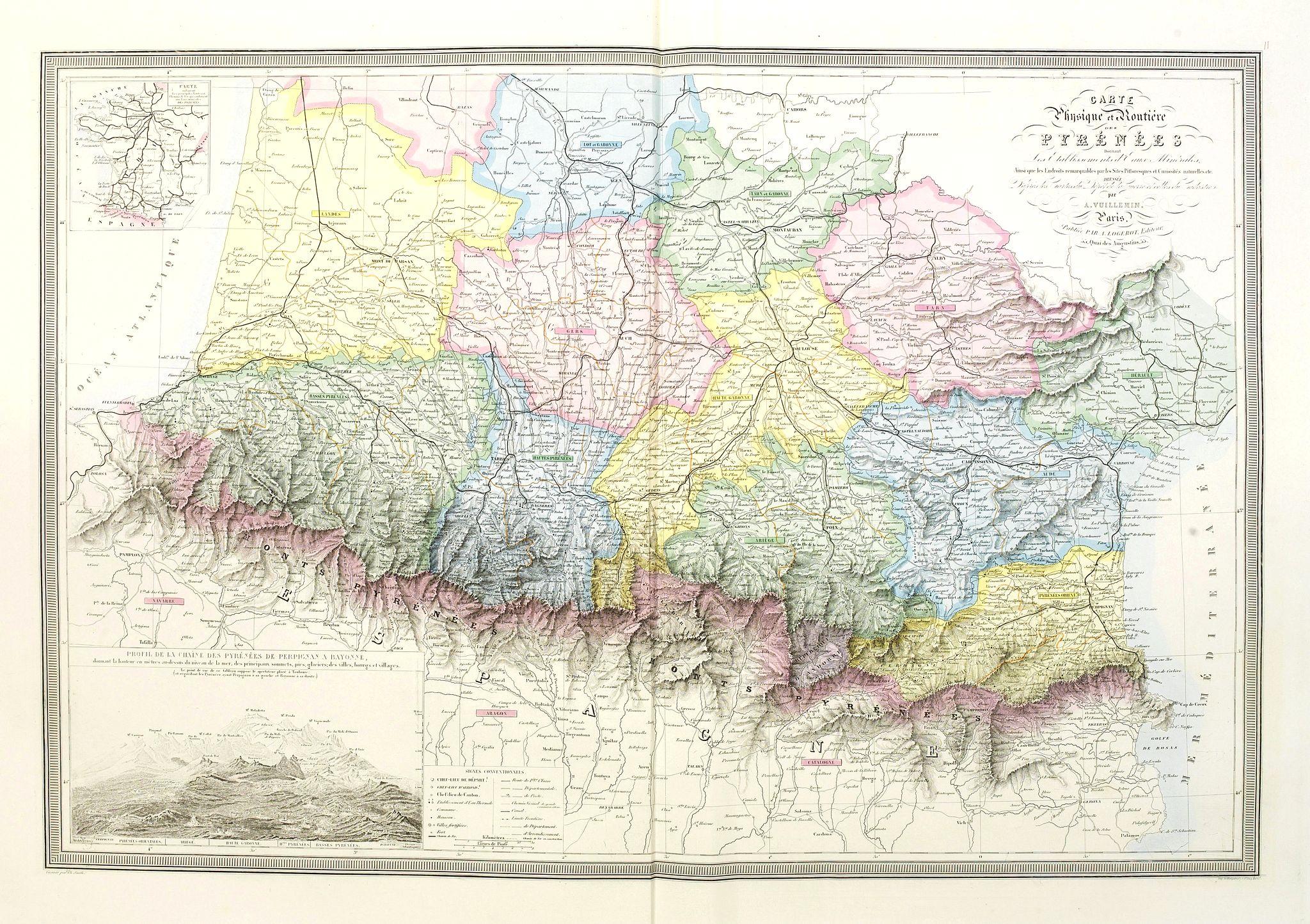 LOGEROT, A. -  Carte Physique et Routière des Pyrénées donnant les établissements d'Eaux Minérales ainsi que les Endroits remarquables par les Sites pittoresques et Curiosités naturelles, etc.