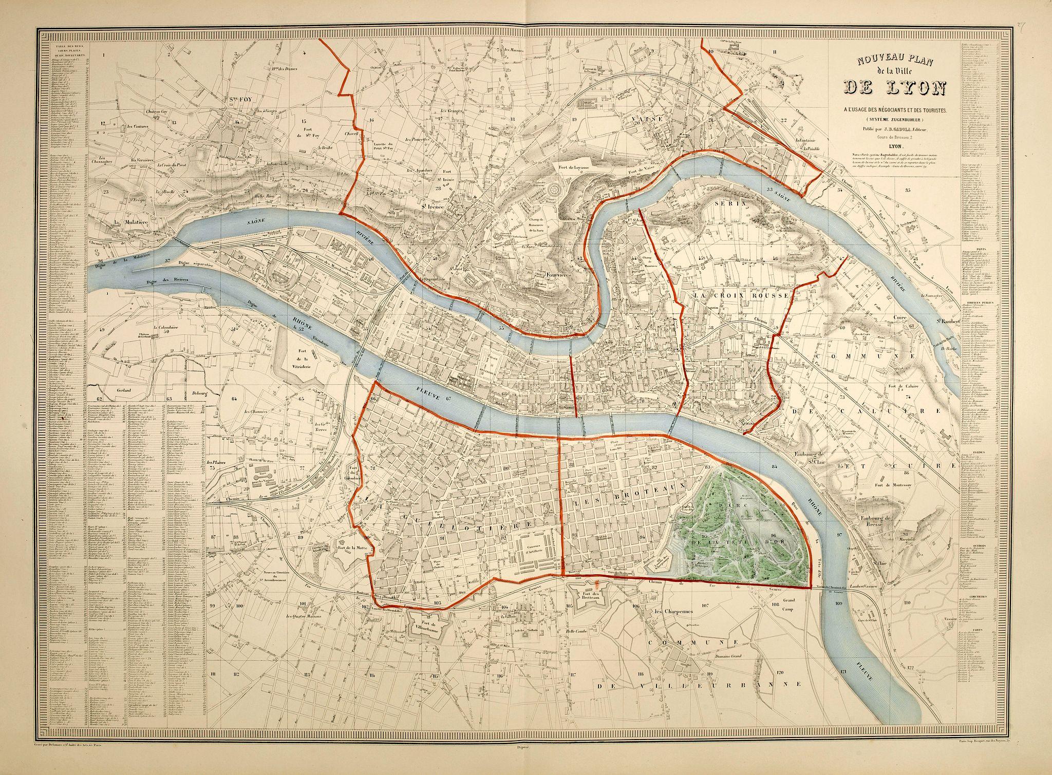 GADOLA, J-B. -  Nouveau plan de Lyon à l'usage des négociants et des touristes.  (système Zugenbuhler)