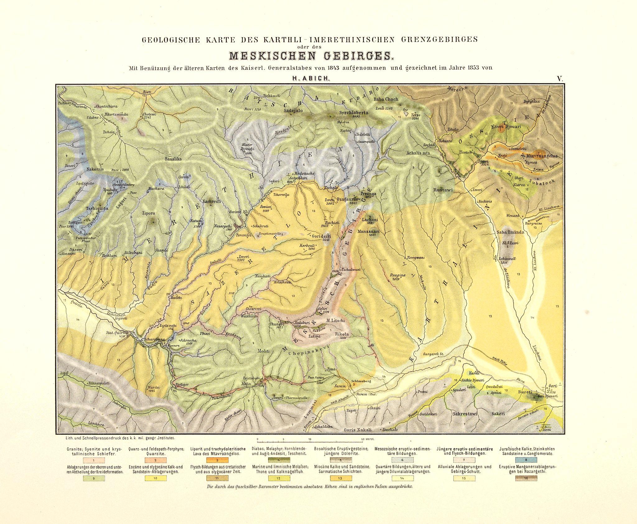 ABICH, H. -  Geologische Karte des Karthli-Imerethinischen Grenzgebirges oder des Meskischen Gebirges.