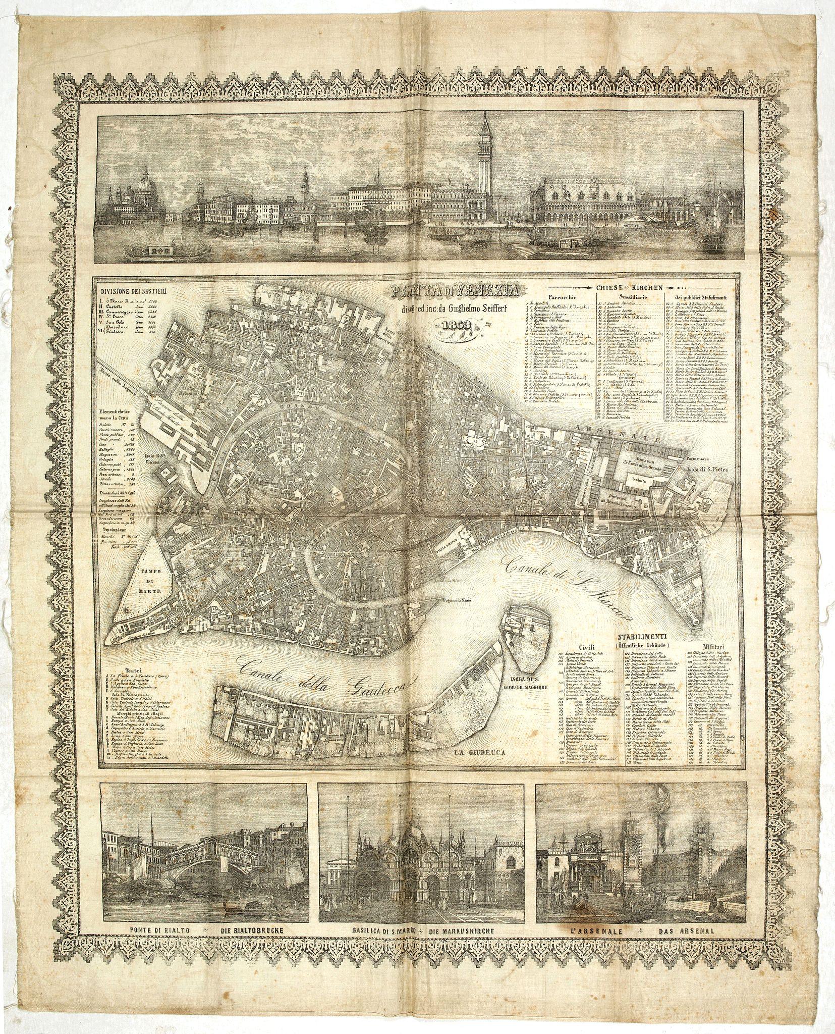 SEIFFERT, W. -  Pianta di Venezia deseg : ed inc : da Guglielmo Seiffert 1859.