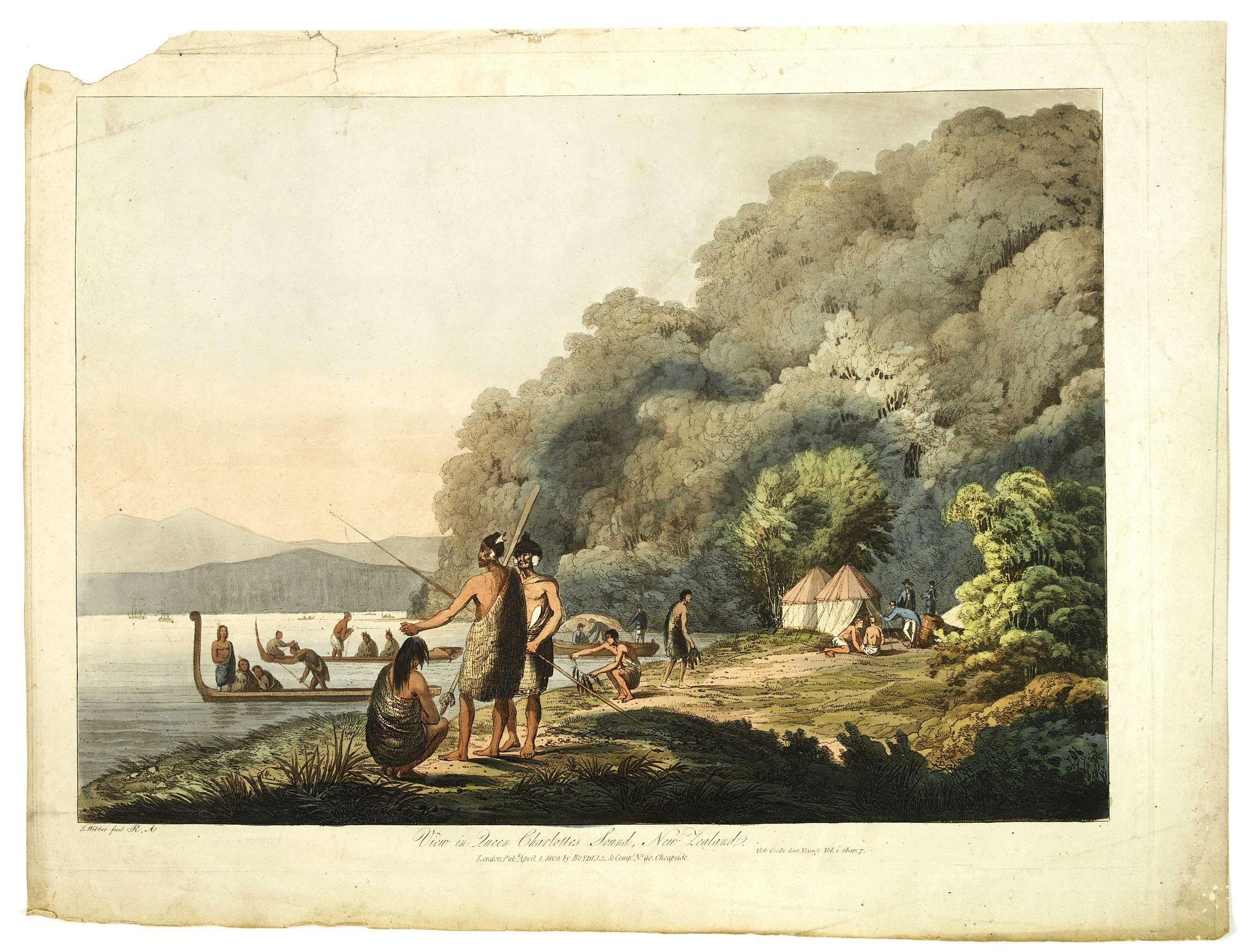 WEBBER, J. -  View in Queen charlotte's sound, New Zealand.