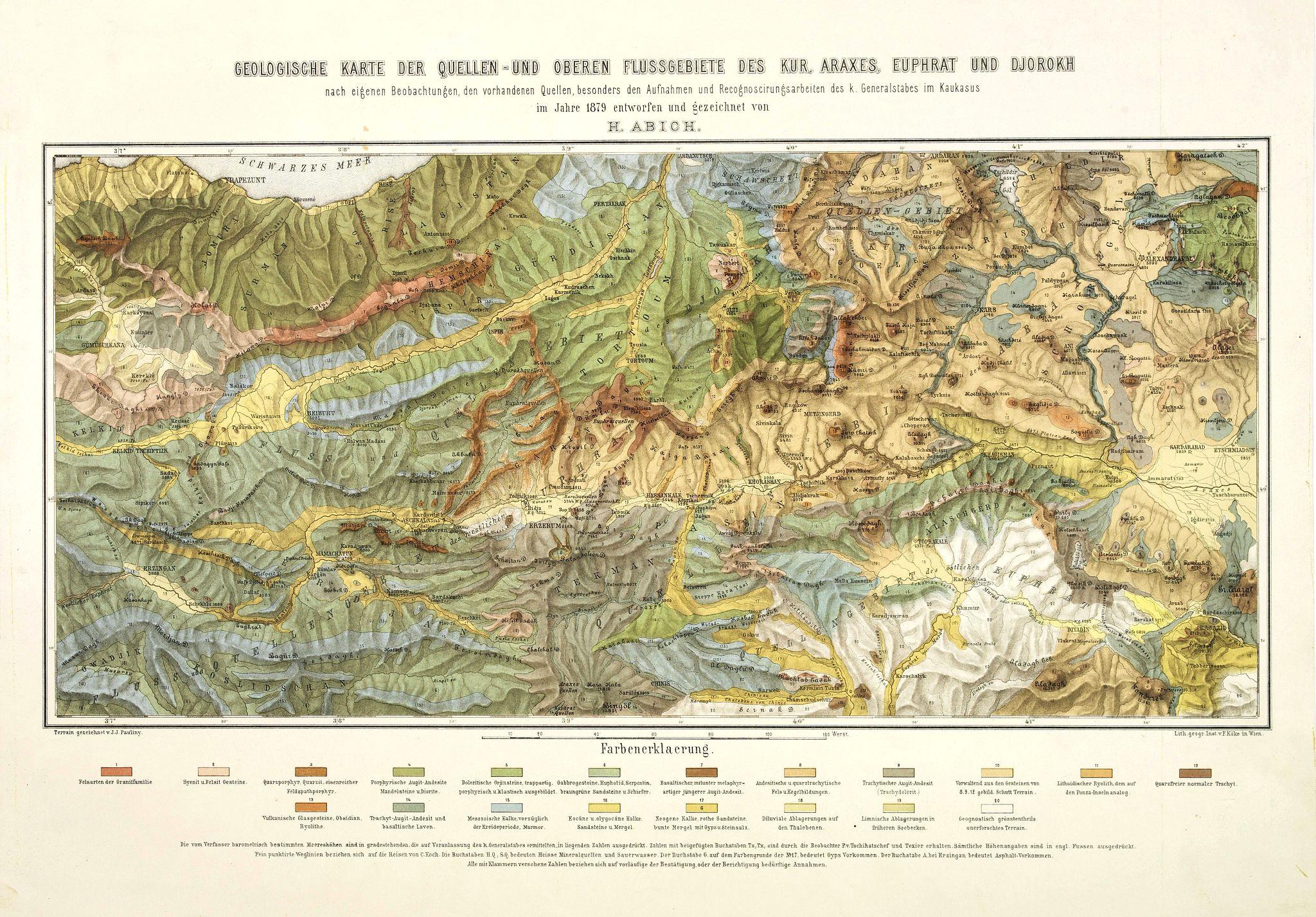 ABICH, H. - Geologische Karte der Quellen-und Oberen Flussgebiete des Kur, Araxes, Euphrat und Djorokh