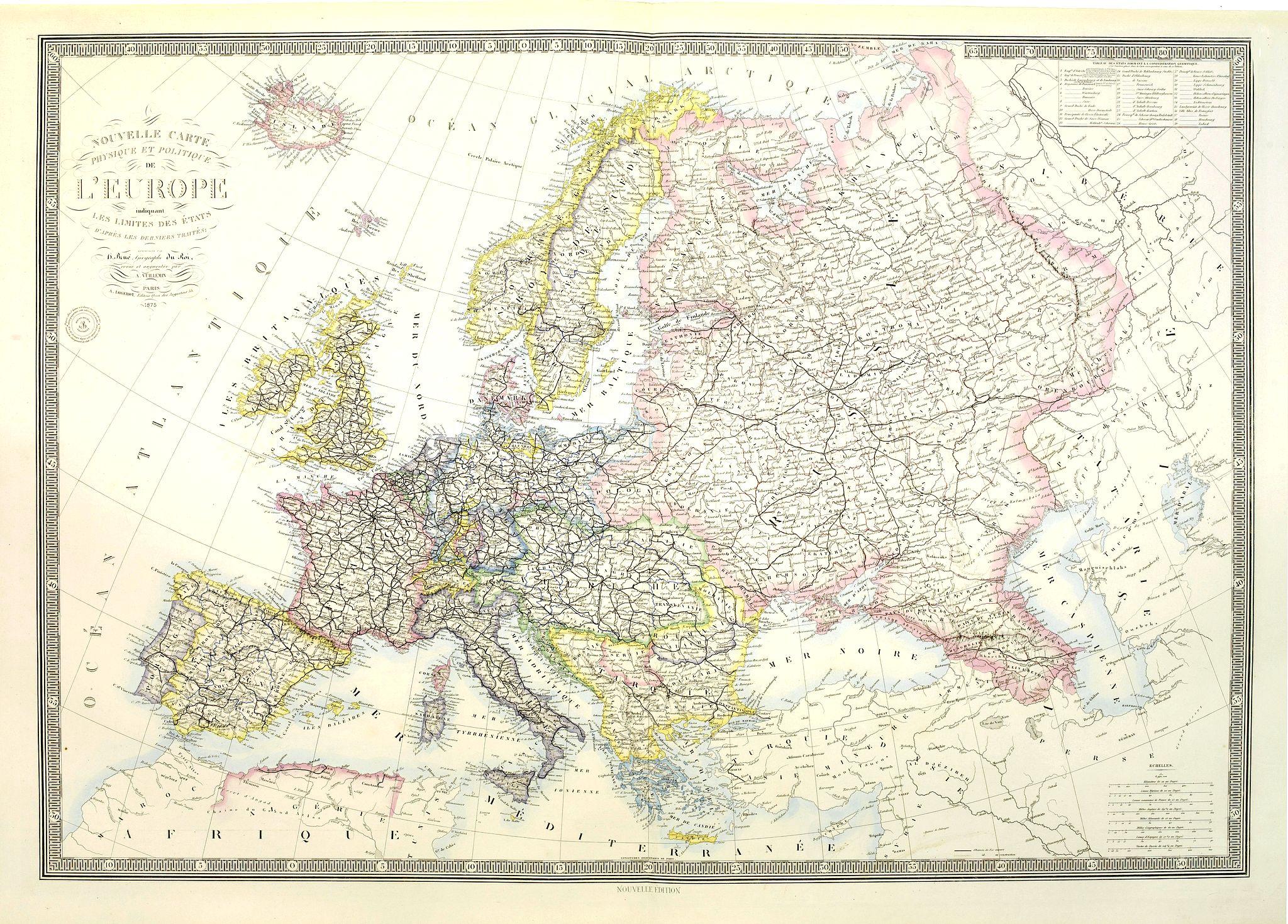 LOGEROT, A. -  Nouvelle carte physique et politique de l'Europe. Les limites d'états.
