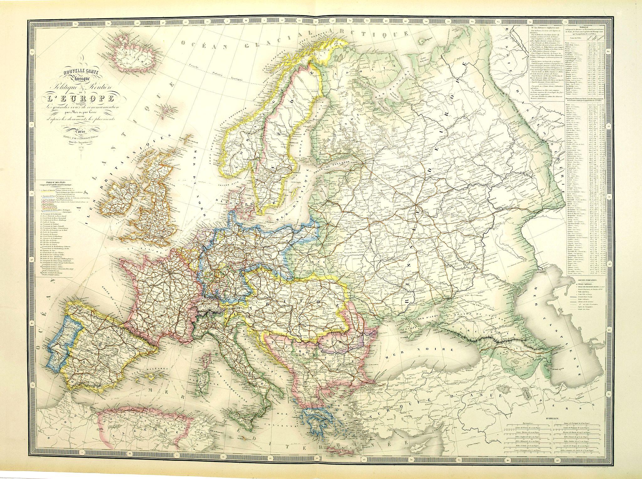LOGEROT, A. -  Nouvelle carte physique et politique de l
