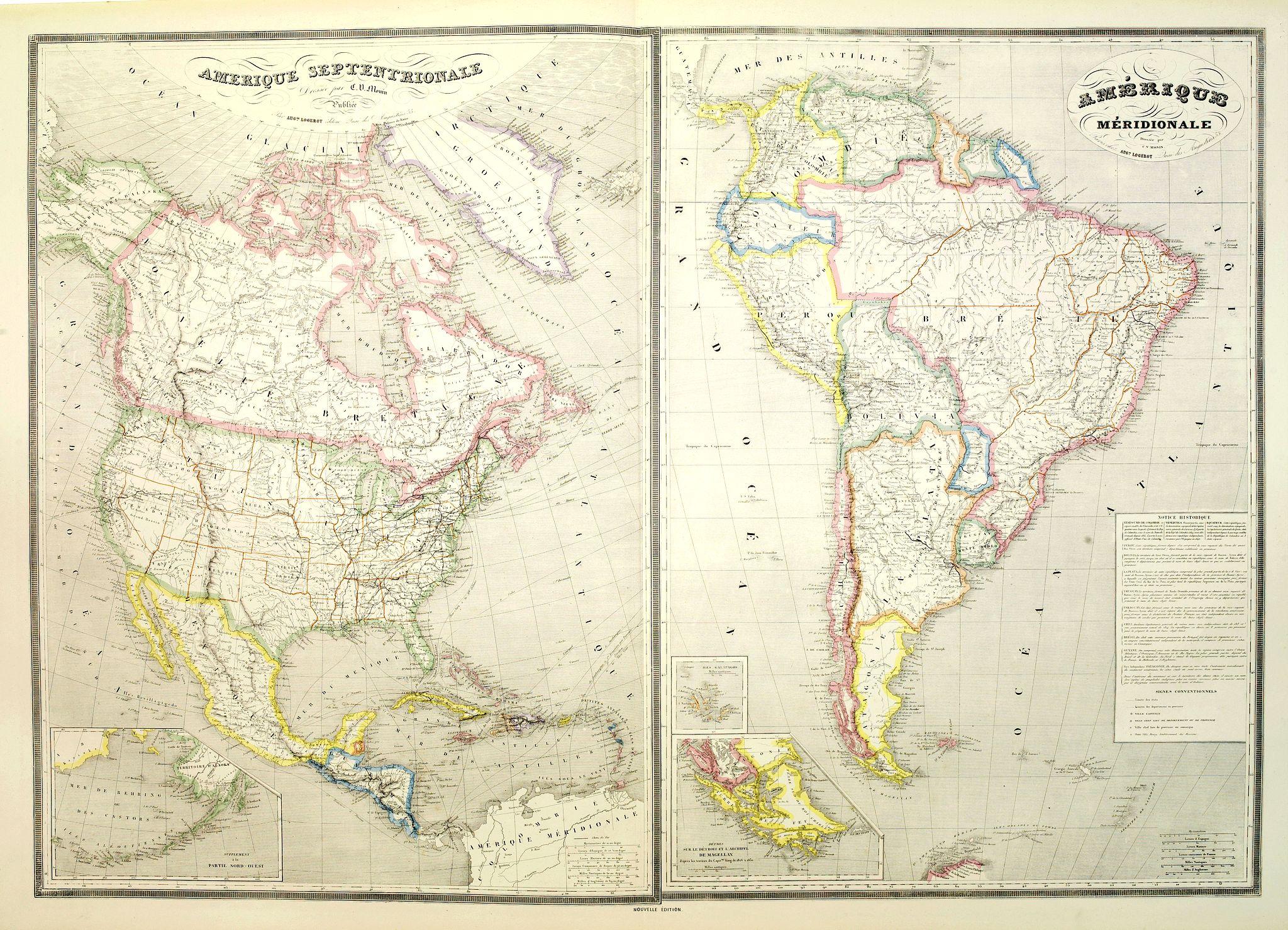 LOGEROT, A. -  Amérique septentrionale dressée par C.V. Monin. . . / Amérique méridionale. . .