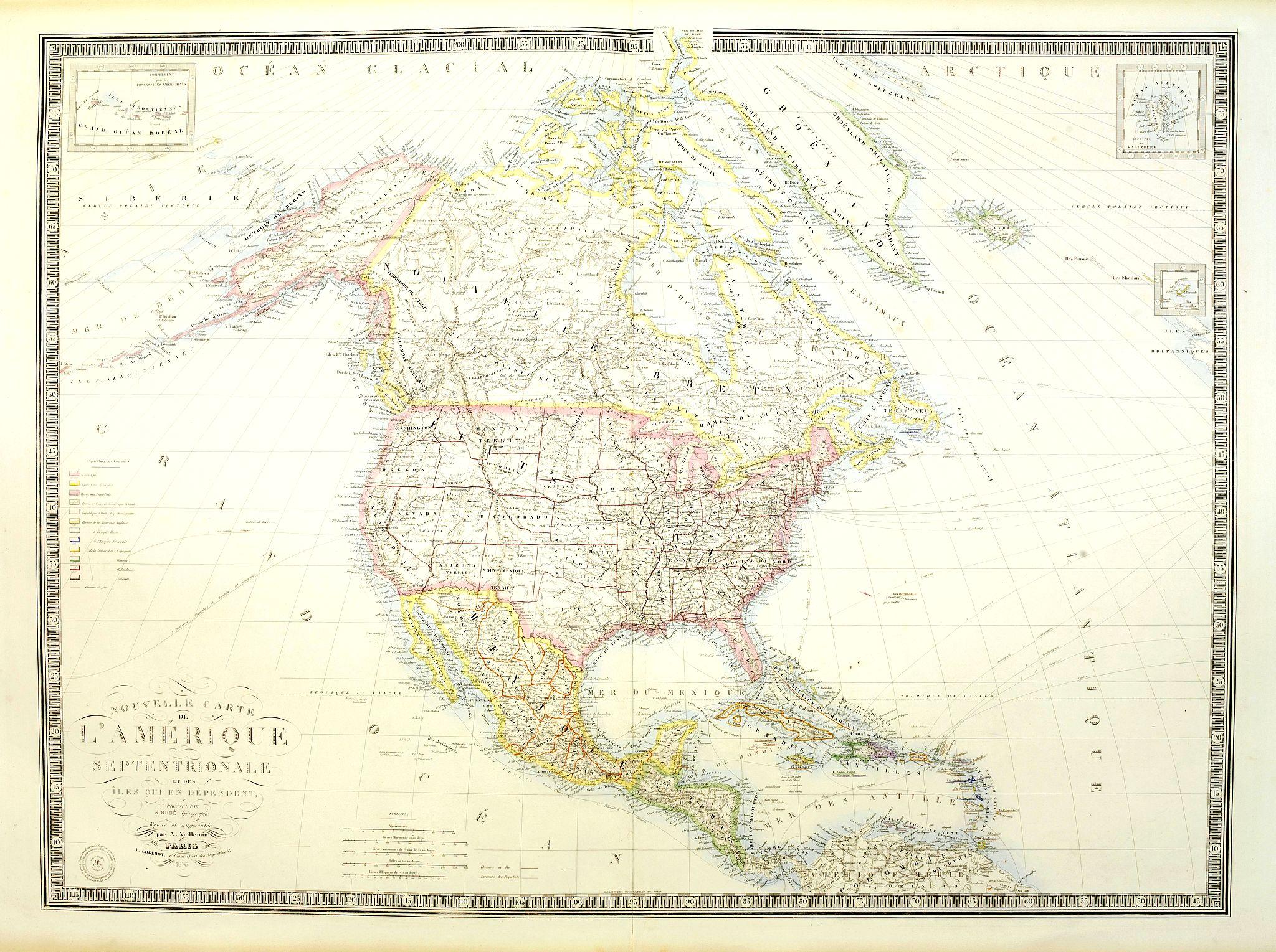 LOGEROT, A. -  Nouvelle carte de l'Amérique Septentrionale et des iles qui en dépendent dressée par H. Brué. . .