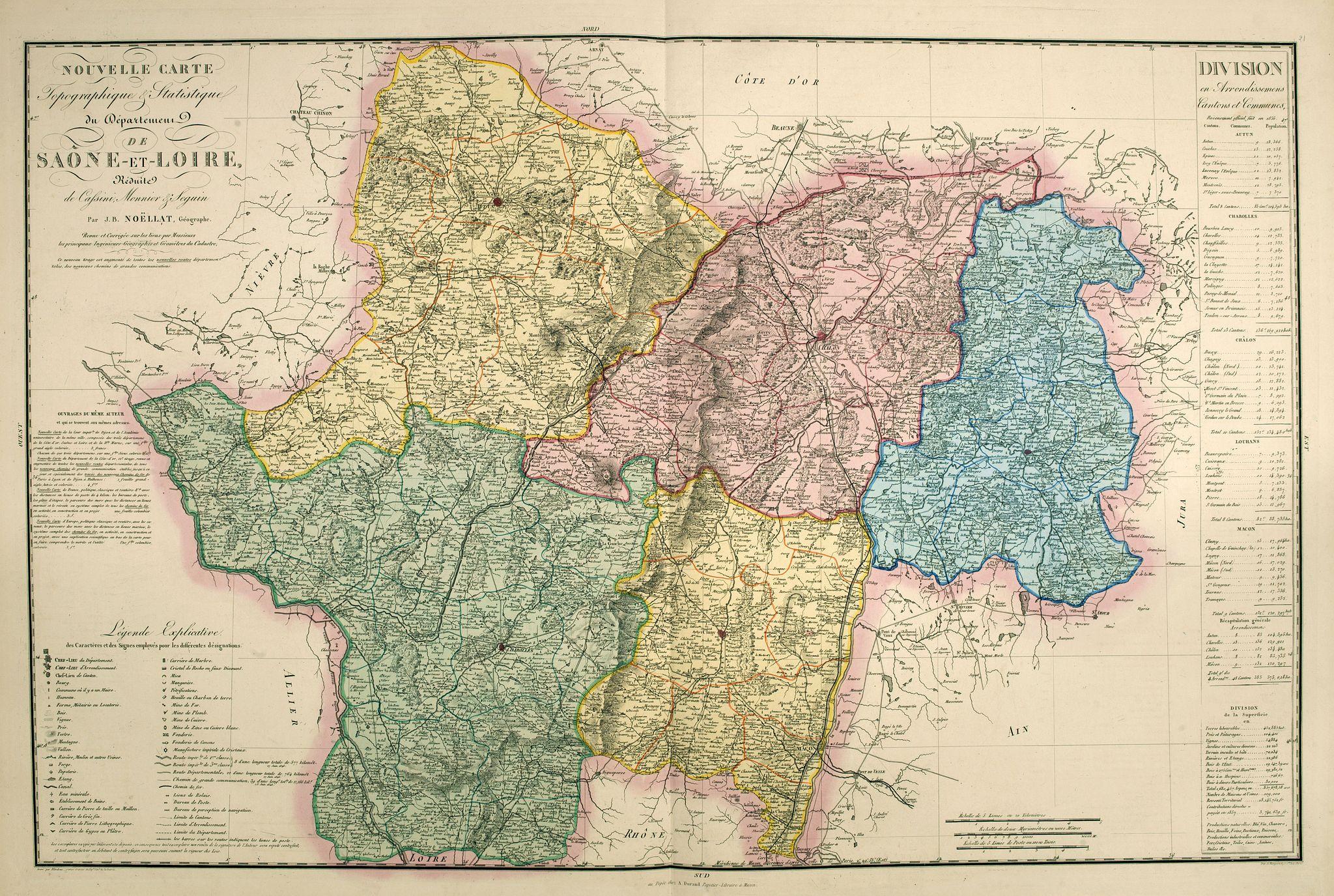 LOGEROT, A. -  Nouvelle carte topographique et statistique du département de Saône-et-Loire