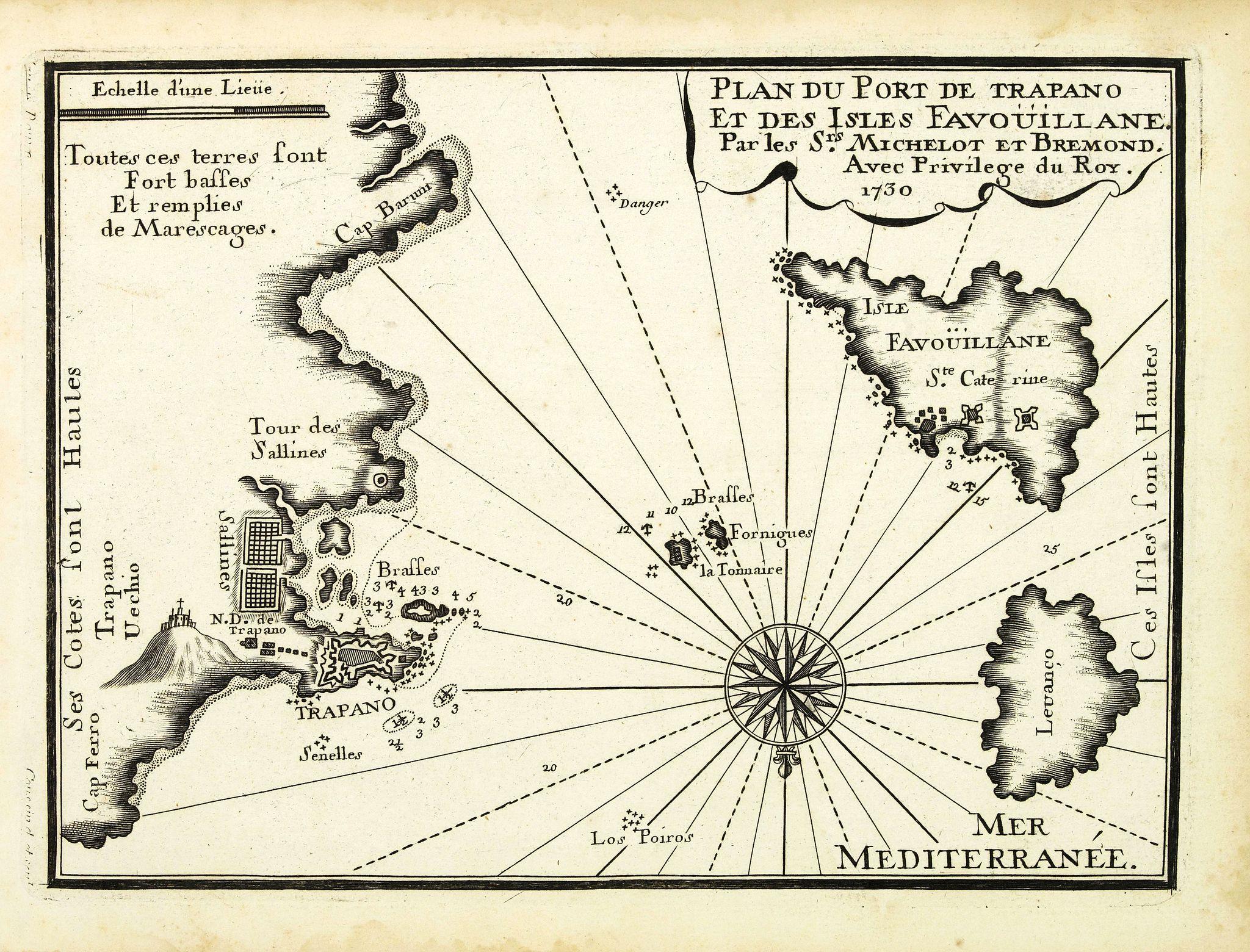 MICHELOT, H. / BREMOND, L. -  Plan du Port de Trapano et des isles Favouillane.