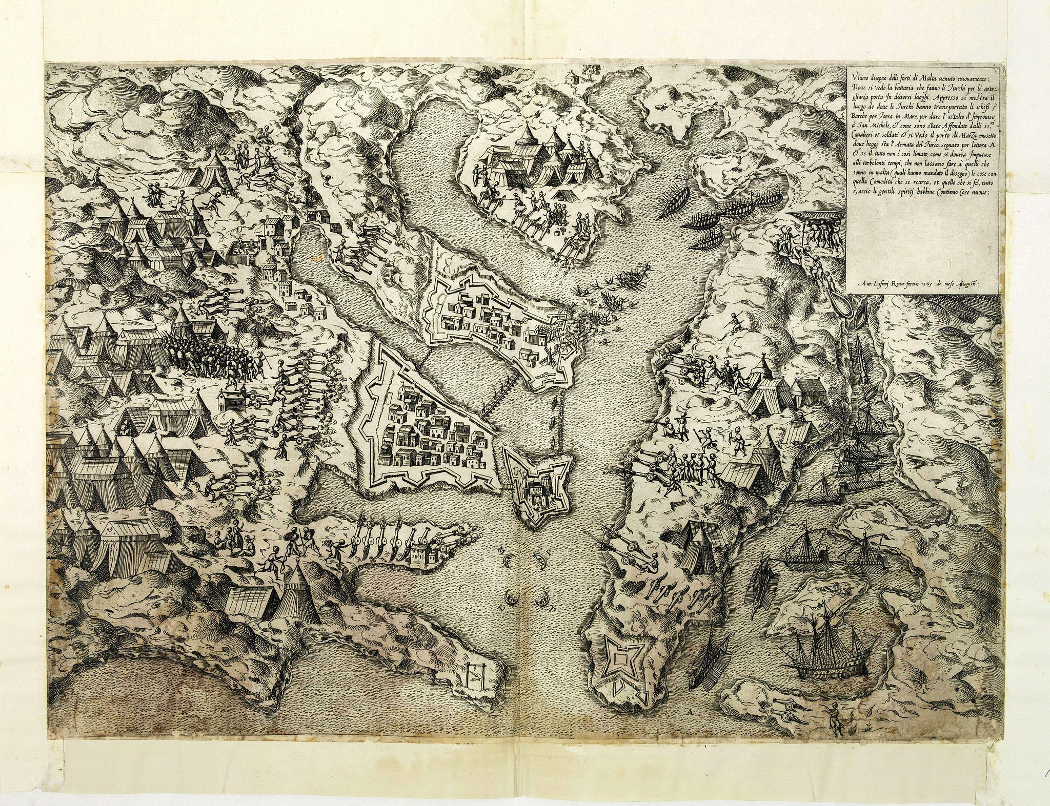 LAFRERI,  Ultimo disegno delli forti di Malta uenuto novamente. . . Ant. Lafrerj Romae formis 1565 de Mese Augusti., antique map, old maps