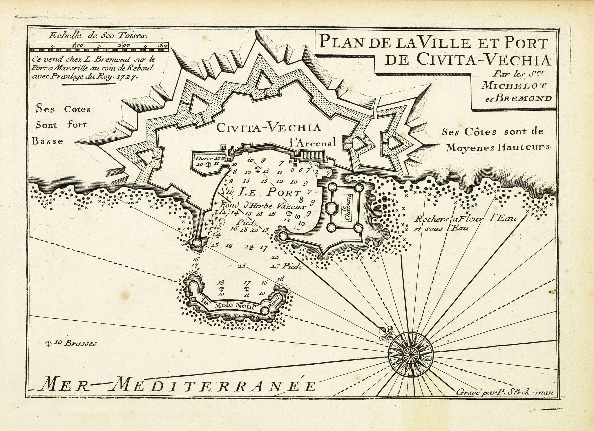 MICHELOT, H. / BREMOND, L. -  Plan de la Ville et Port de Civita-Vechia.