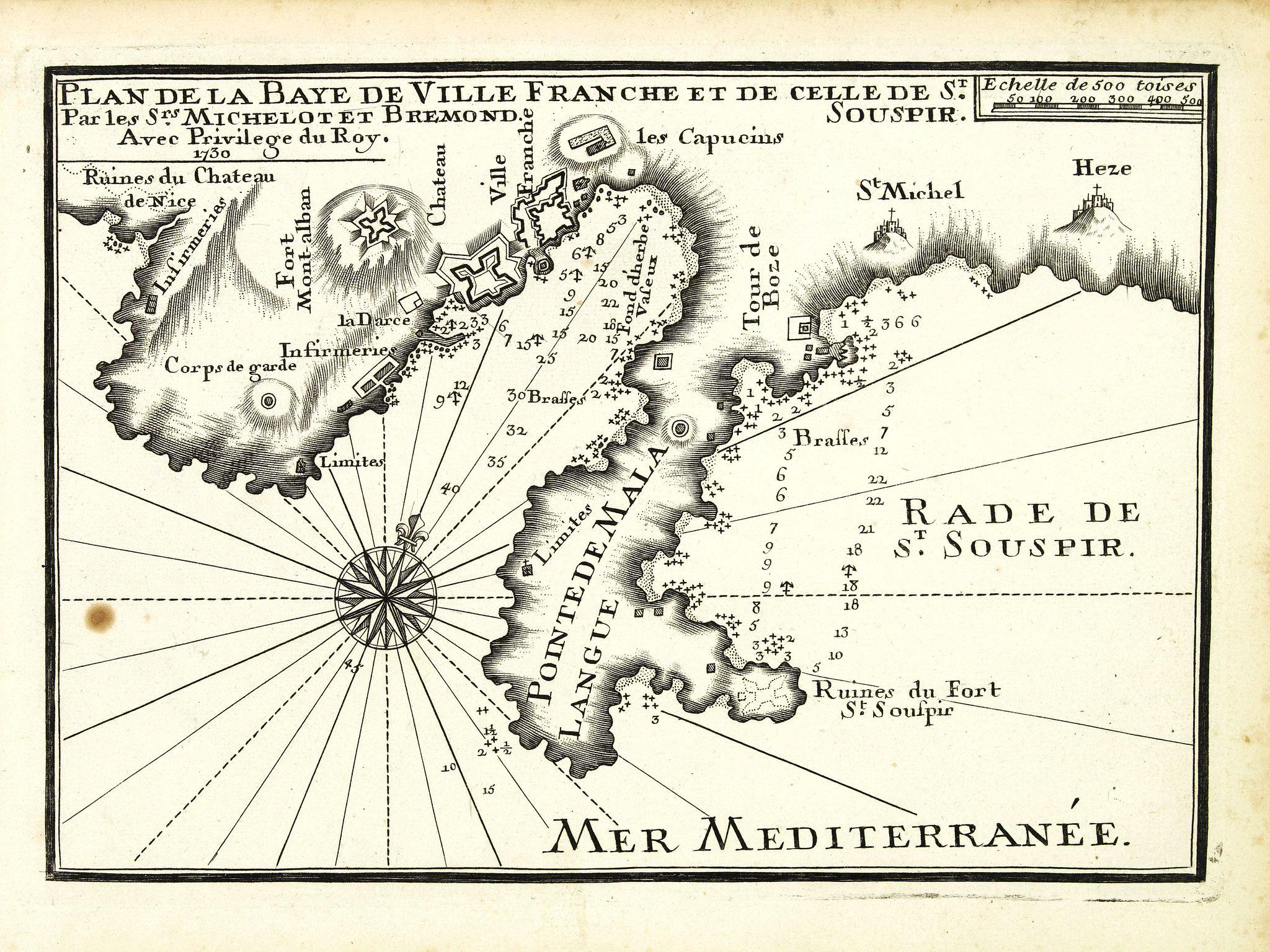 MICHELOT, H. / BREMOND, L. -  Plan de la Baye de Ville Franche et de celle de St. Souspir.
