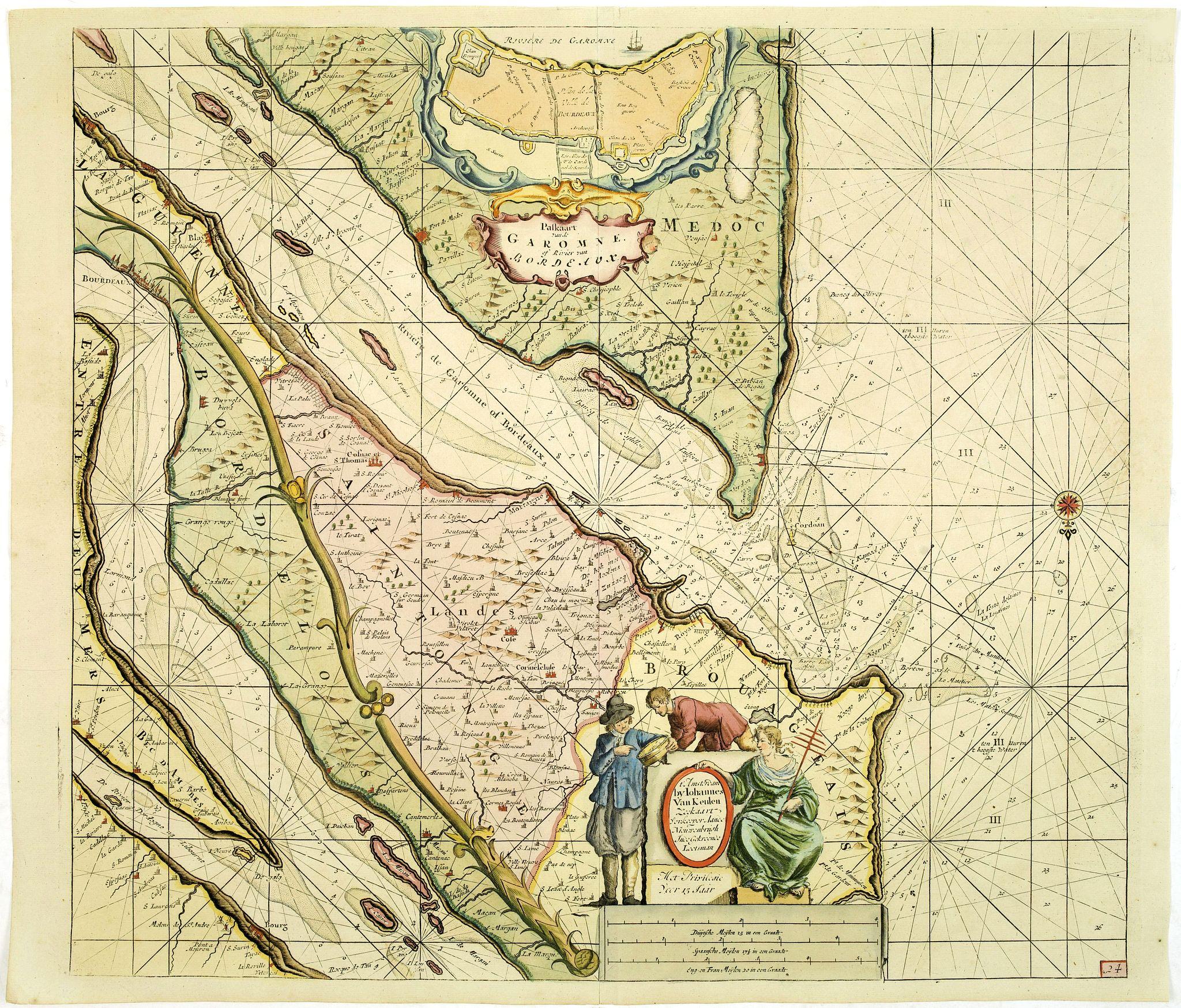 VAN KEULEN, J. -  Paskaart van de Garomne of rivier van Bordeaux.