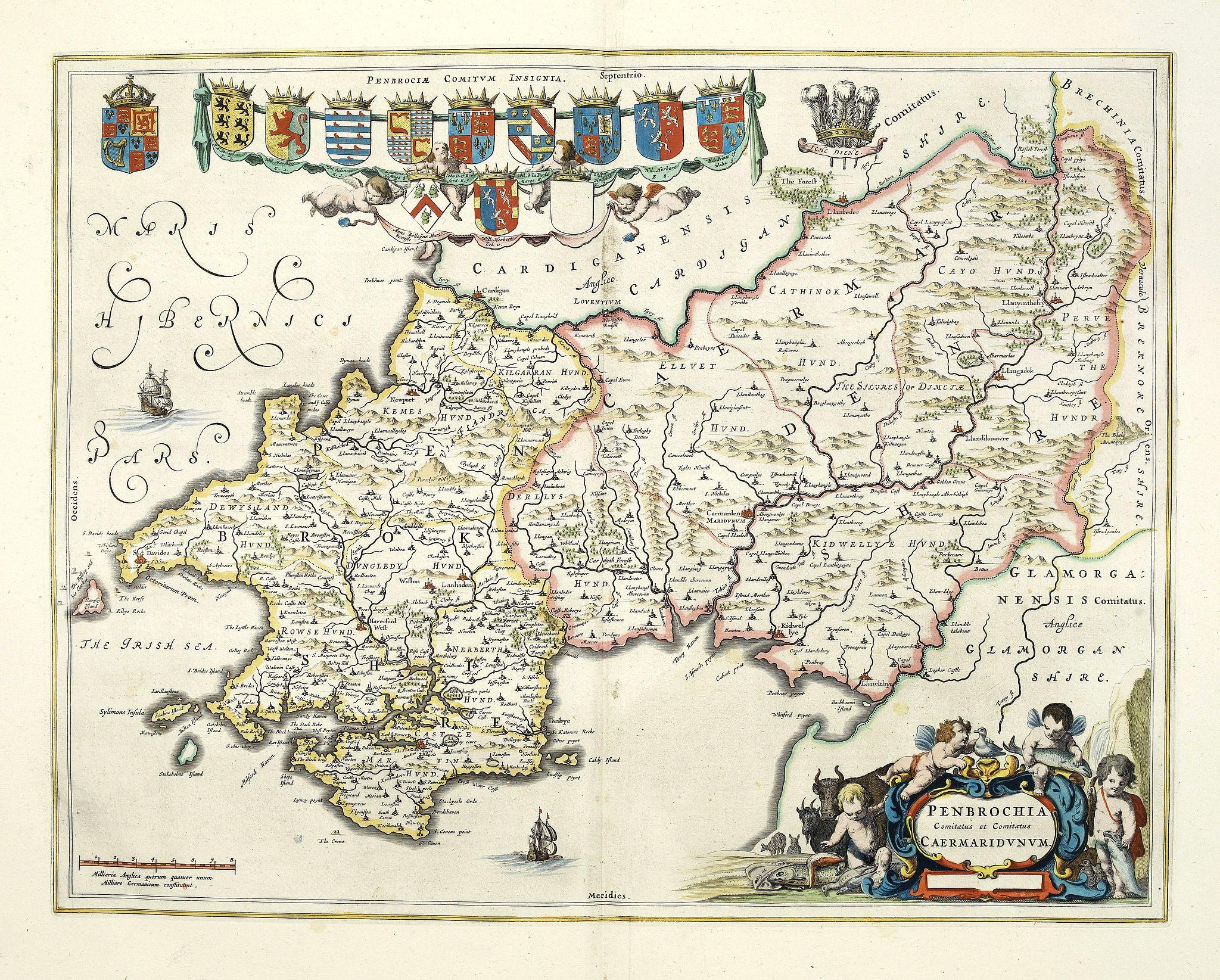 BLAEU, J. -  Penbrochia Comitatus et Comitatus Caermaridunum.