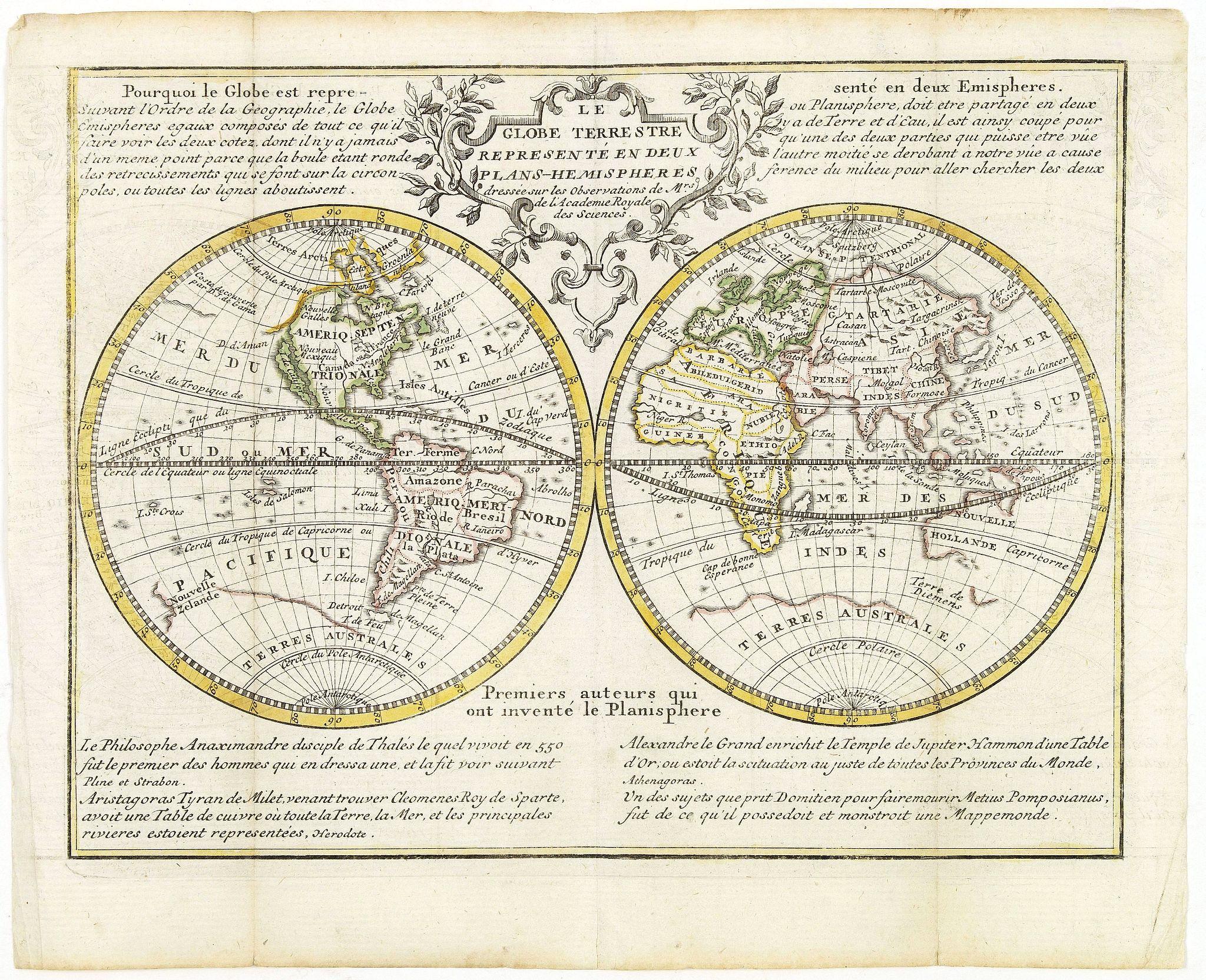 CHIQUET, J. - Le Globe Terrestre Representé en Deux Plans-Hemispheres..