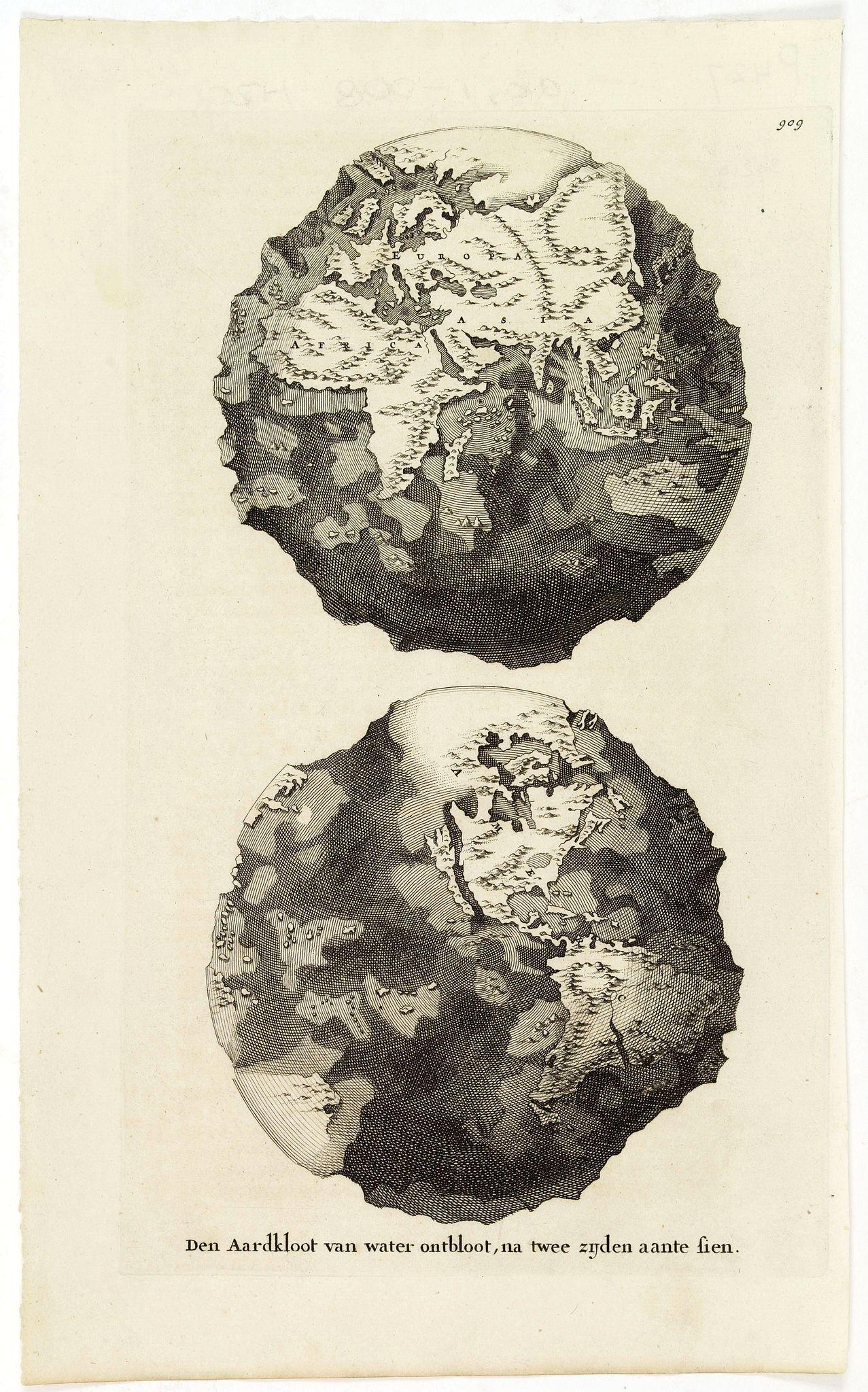 GOEREE, W. / J. - Den Aardkloot van water ontbloot, na twee zijden aante sien.