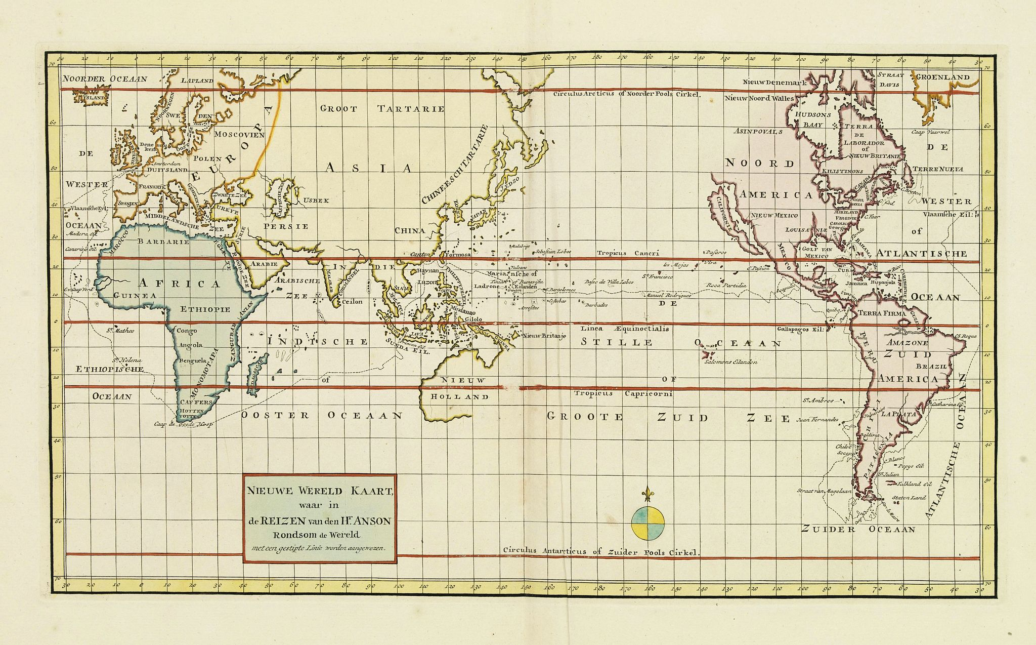 TIRION, I. - Nieuwe Wereld Kaart waar in de Reizen van den Hr. Anson rondsom de Wereld met een gestipte Linie worden Aangewezen.