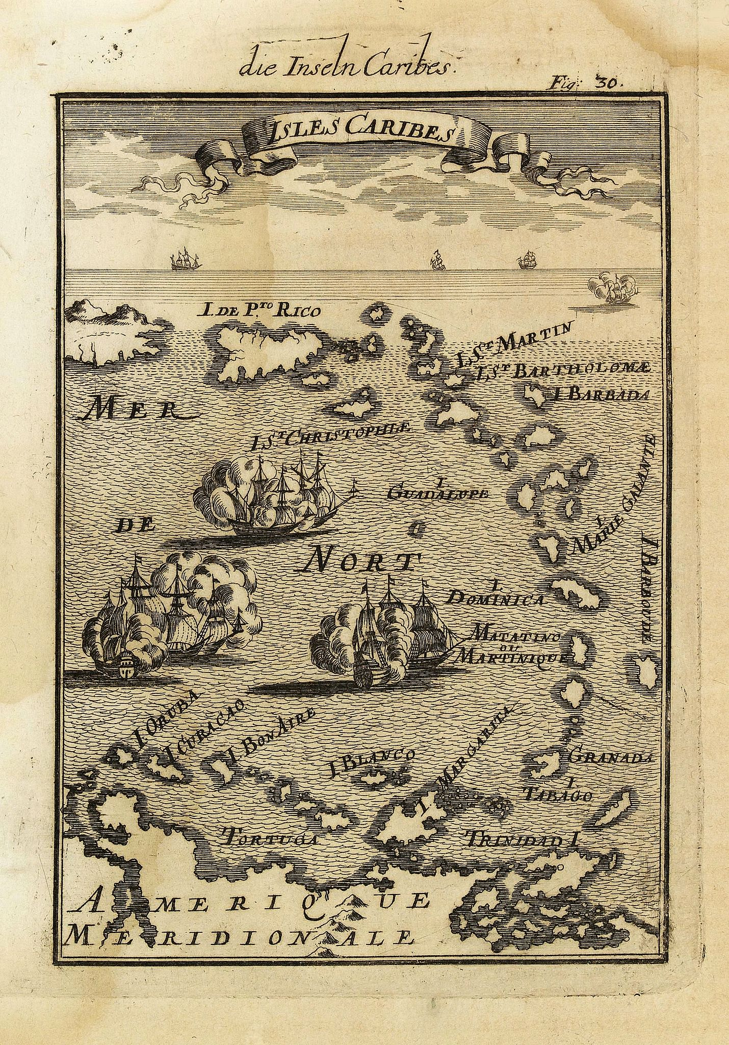 MALLET, A.M.,  Isles Caribes., antique map, old maps