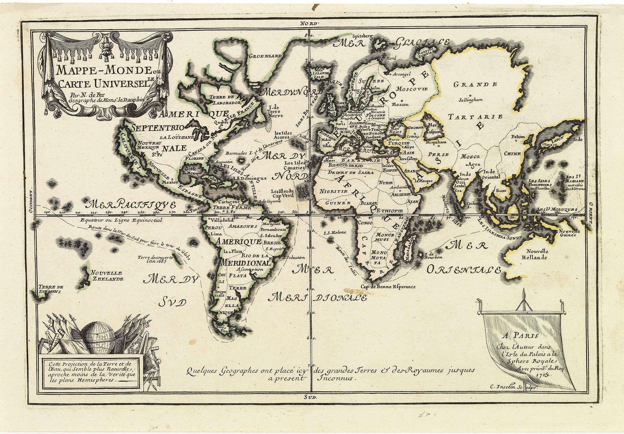 FER,N. De -  Mappe-Monde ou carte Universelle. . .