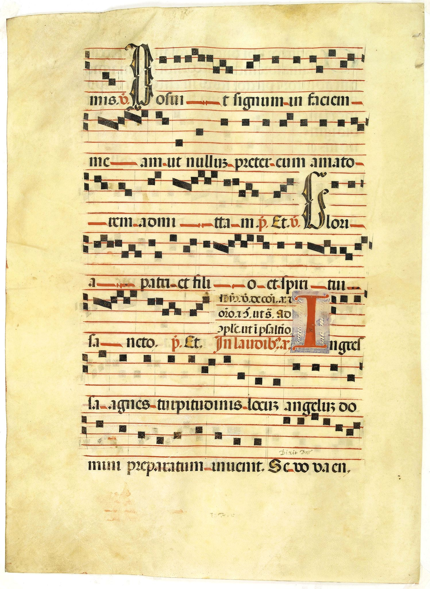 ANTIPHONARIUM.,  Leaf on vellum from a antiphonary., antique map, old maps