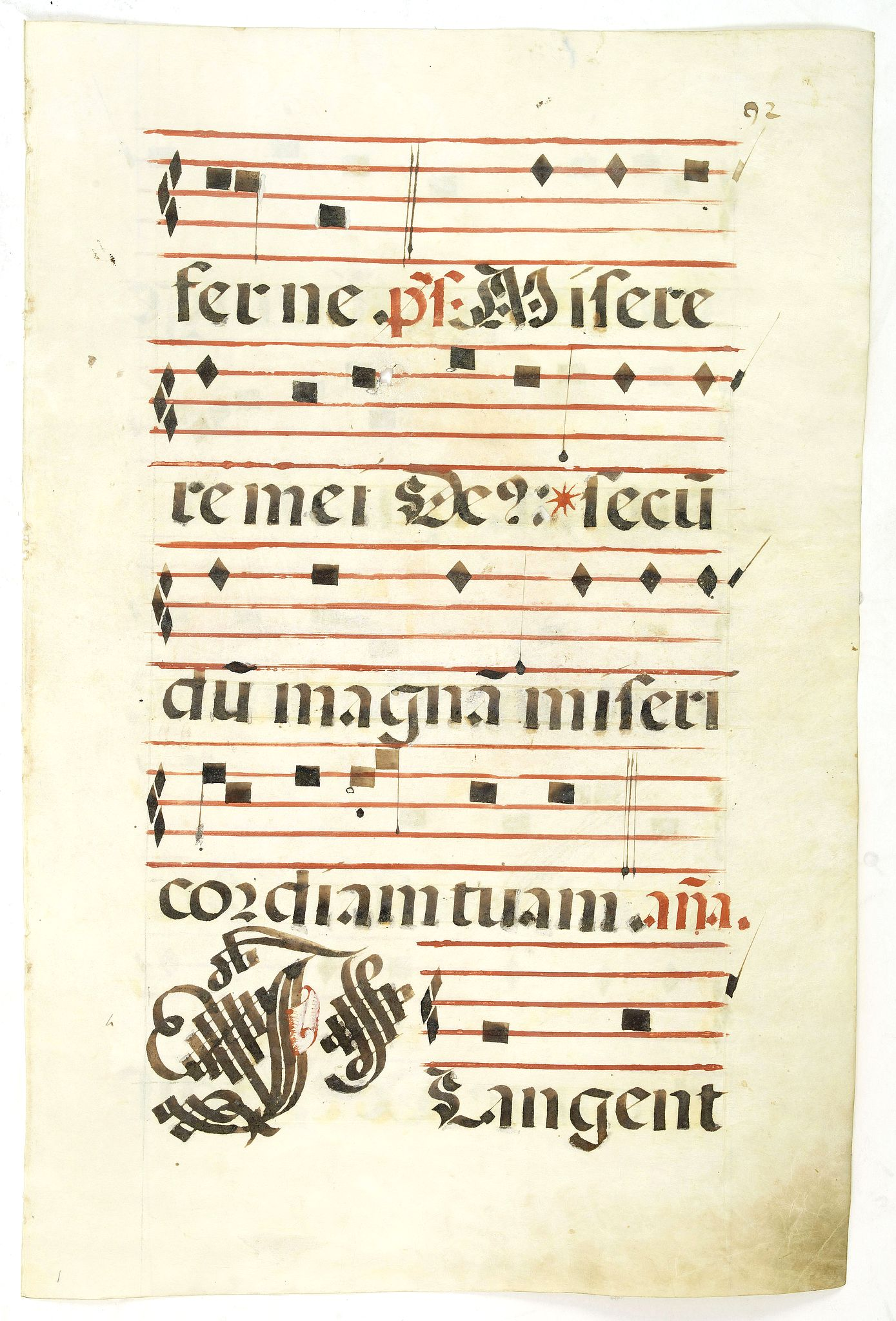 ANTIPHONER,  Leaf of manuscript music from an Antiphonary., antique map, old maps