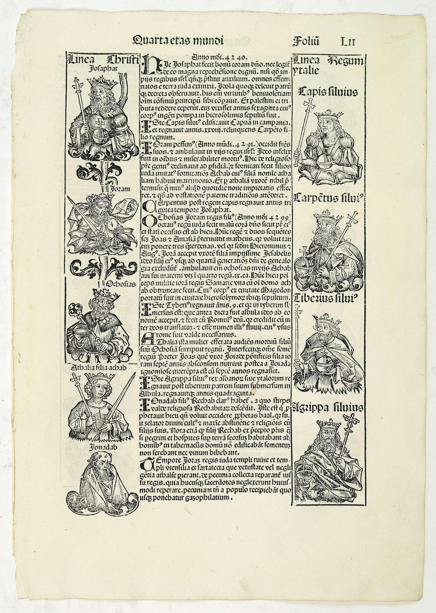 SCHEDEL, H. - Quarta Etas Mundi. Folium.LII