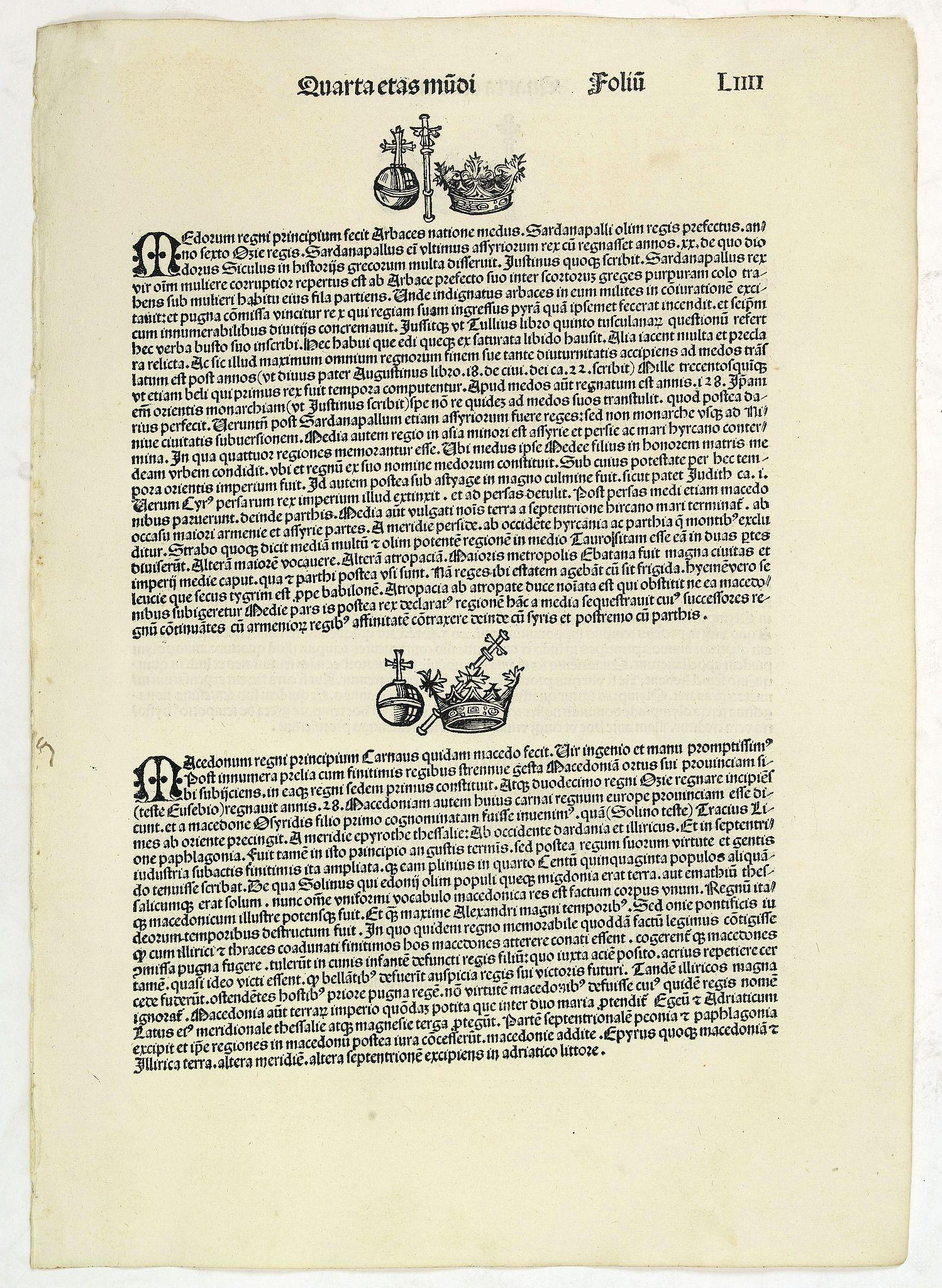 SCHEDEL, H. -  Quarta Etas Mundi. Foliu. LIIII.