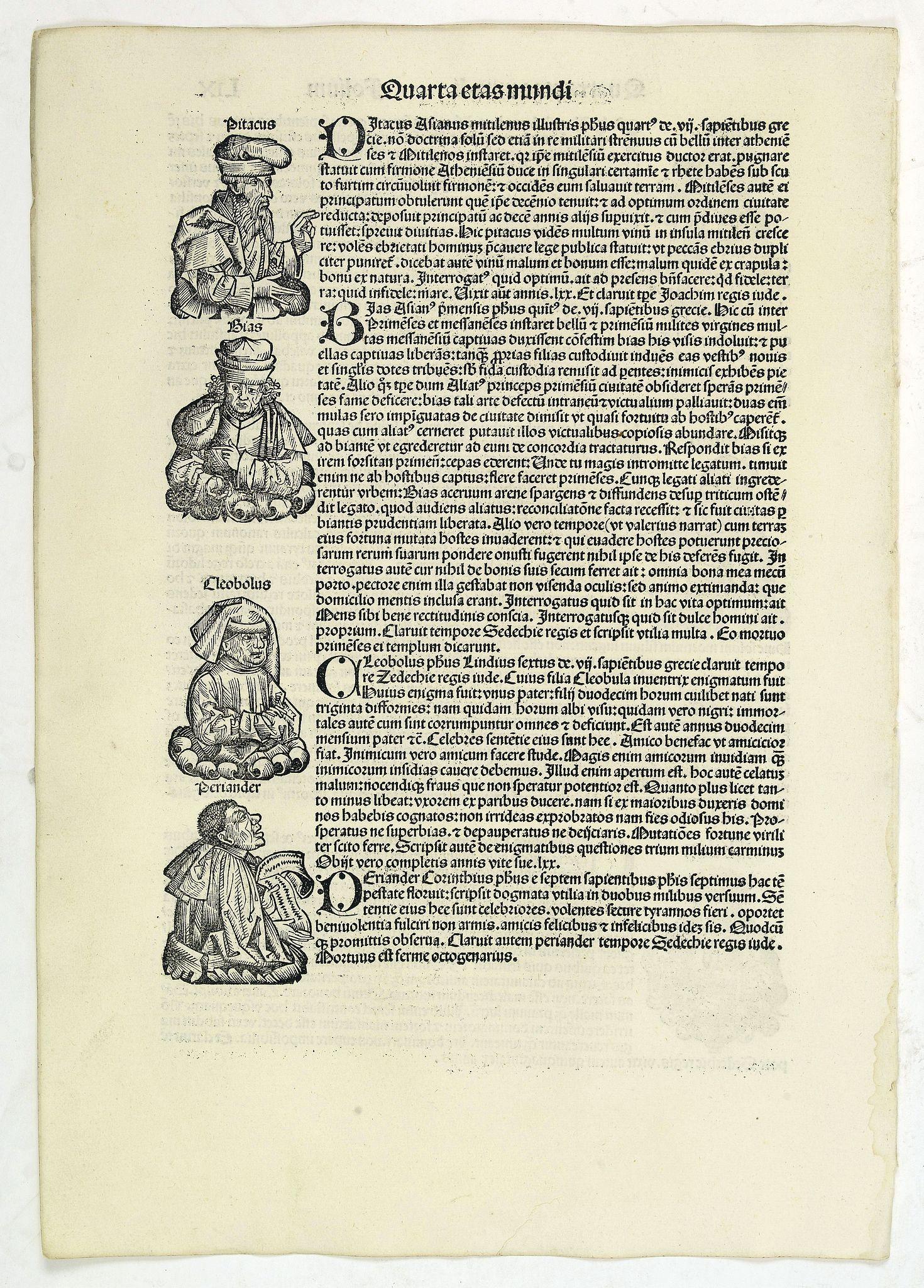 SCHEDEL, H. -  Quarta Etas Mundi. Folium. LIX