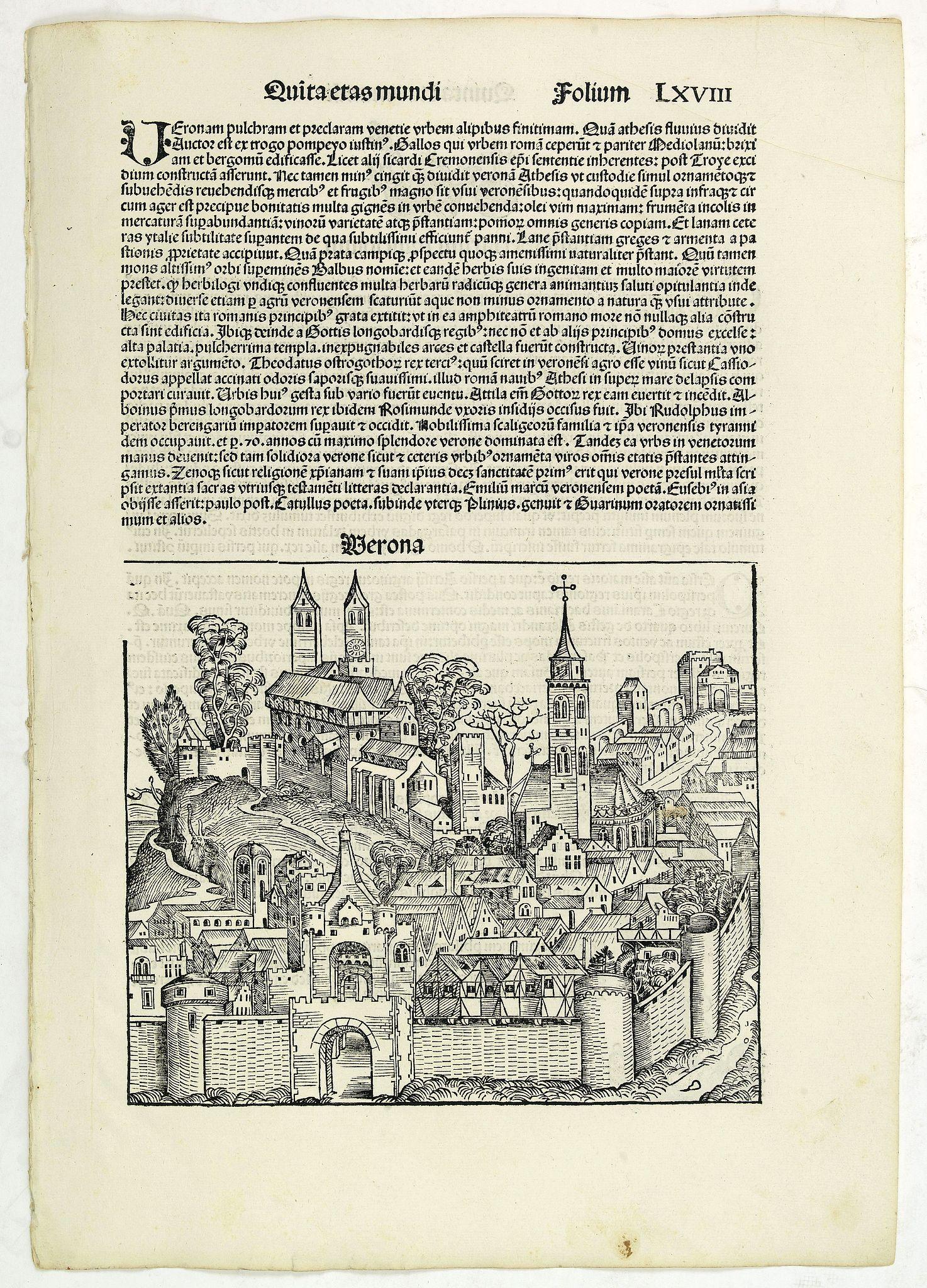SCHEDEL, H. -  Quita Etas Mundi. Folium.LXVIII (Verona)