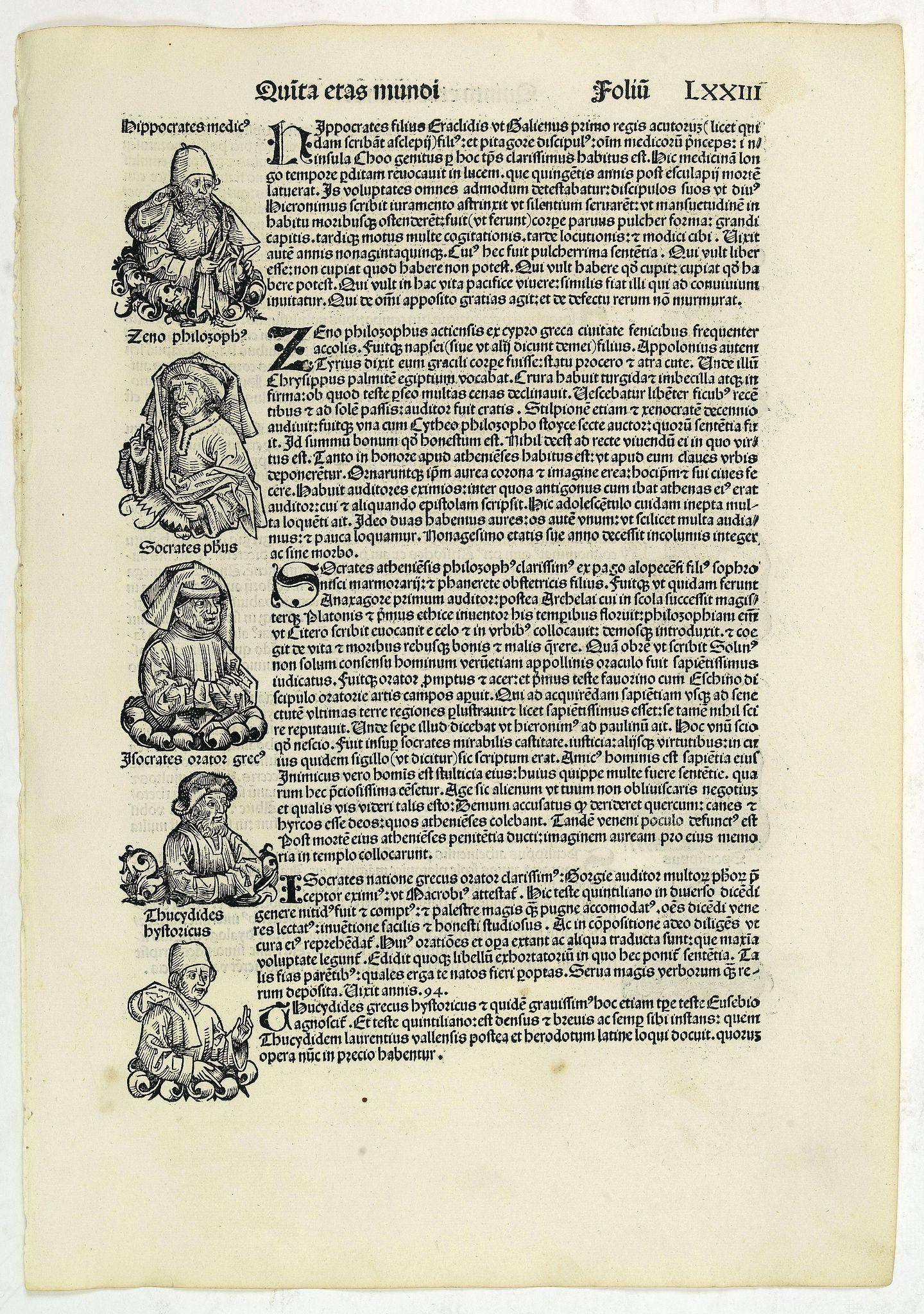 SCHEDEL, H. -  Quita Etas Mundi. Folium.LXXIII