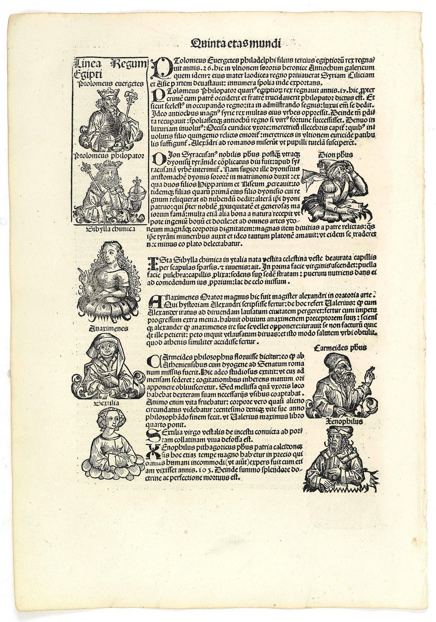 SCHEDEL, H. -  Quinta Etas Mundi. Folium.LXXVIII