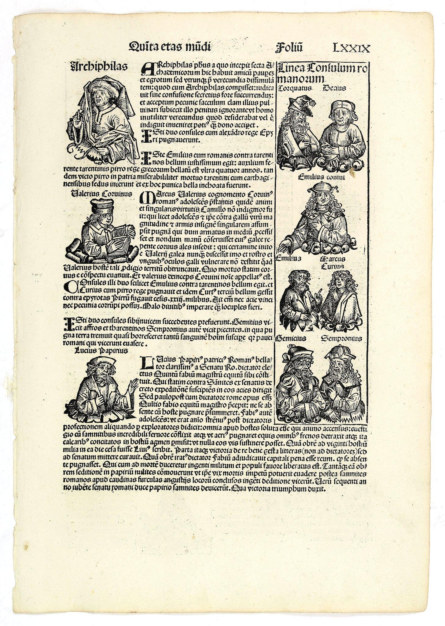 SCHEDEL, H. -  Quita Etas Mundi. Folium.LXXIX