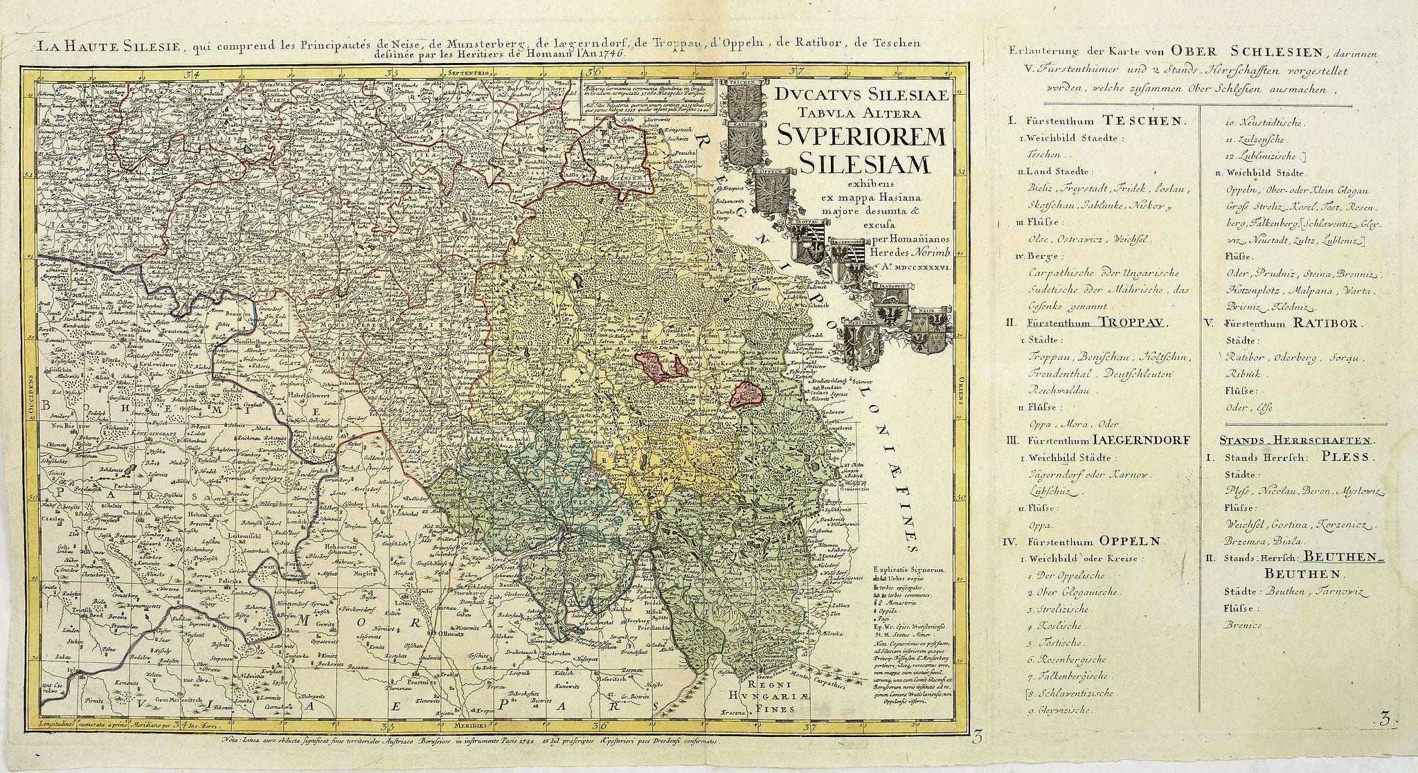HOMANN HEIRS. -  Ducatus Silesiae Tabula Altera Superiorem Silesiam exhibens ex mappa Hasiana majore desumpta et excusa per Homannianos HeredesNorimb. Anno 1746.