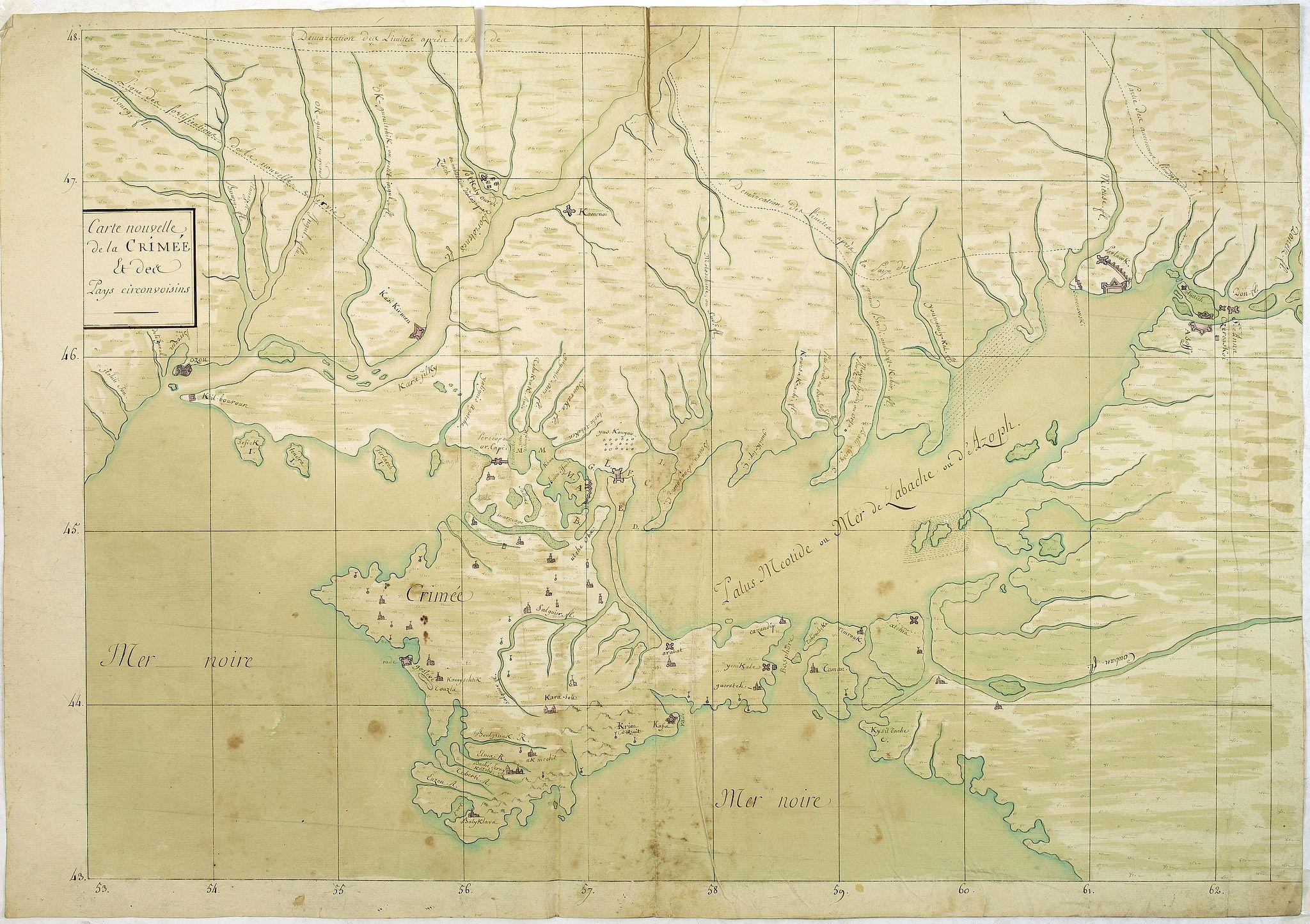 ANONYMOUS -  [MANUSCRIPT] Carte nouvelle de la Crimée et des pays circonvoisins.
