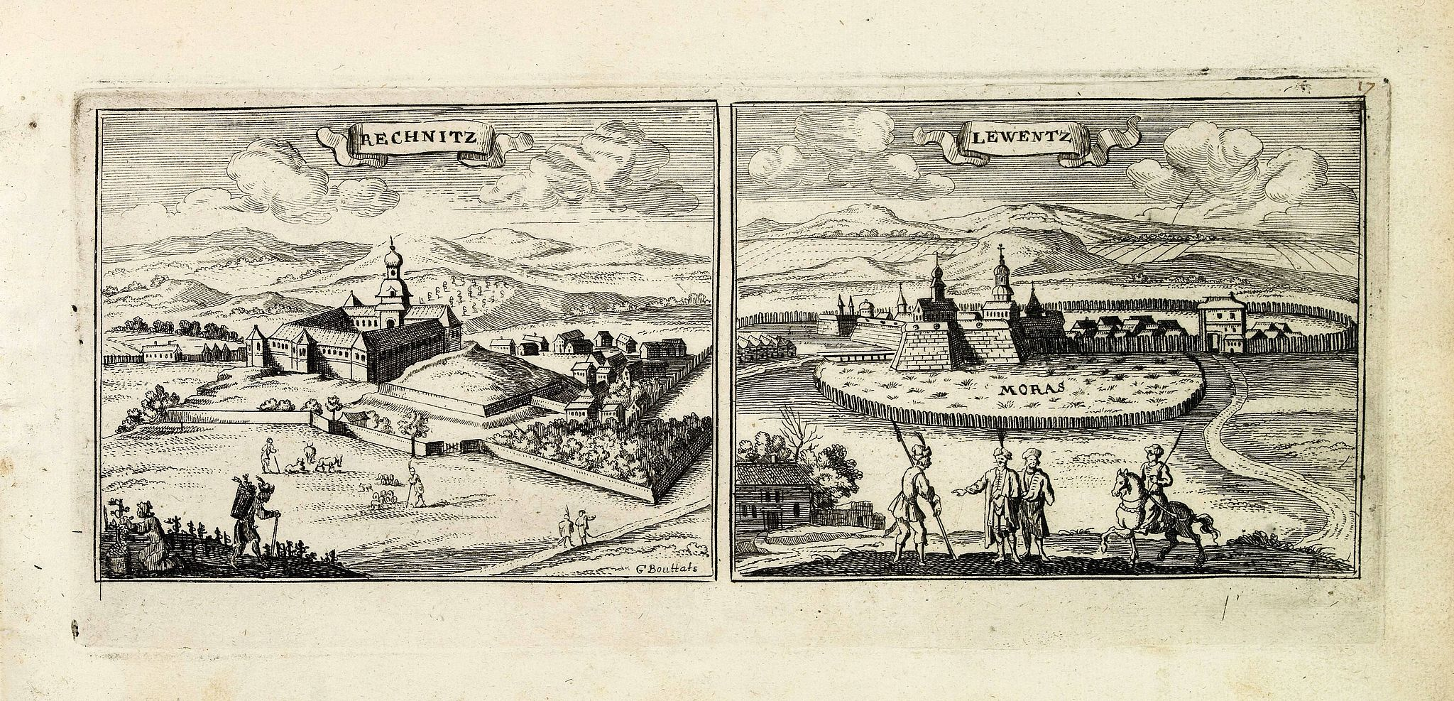PEETERS, J. / BOUTTATS, G.,  Rechnitz / Lewentz. (Breznica and Levice), antique map, old maps