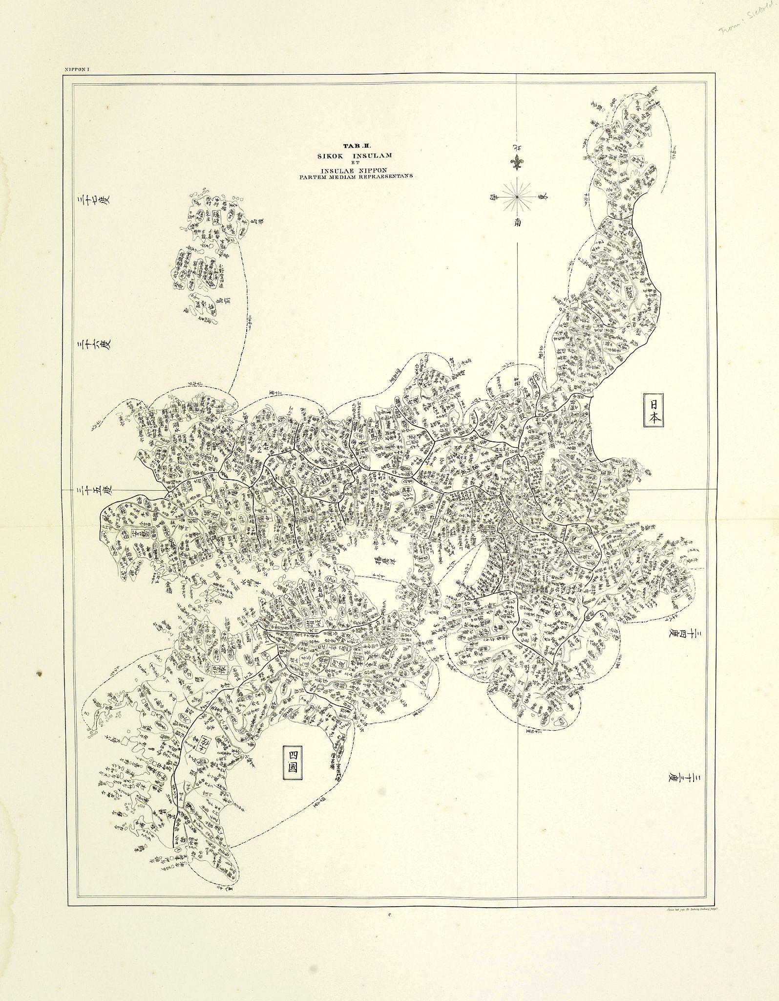 VON SIEBOLD, P.Fr.B. -  Sikok Insulam et Insulae Nippon partem mediam repraesentans.