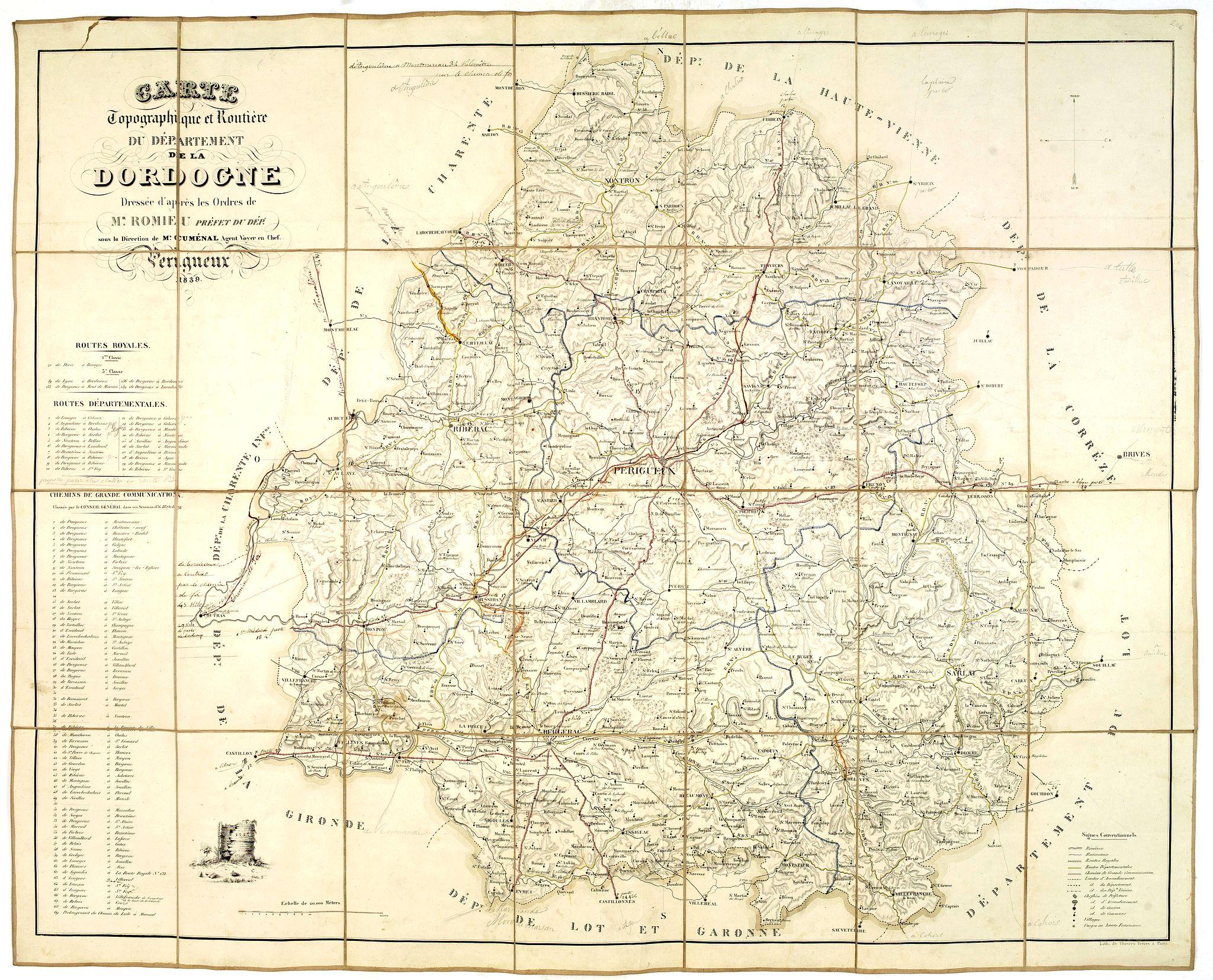 ROMIEU / CUMENAL. -  Carte topographique et routière du département de la Dordogne. . .