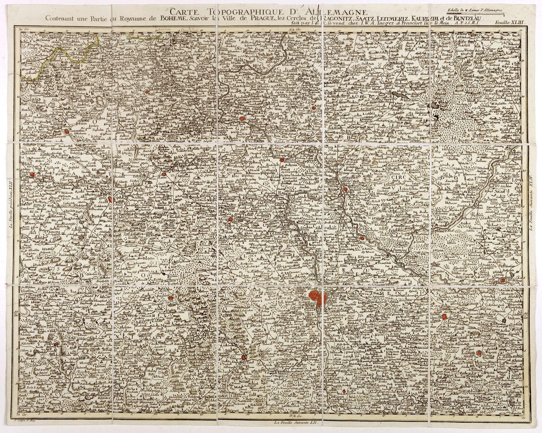 IAEGERS, I-W-A. -  Carte topographique d'Allemagne contenant une partie du royaume de Boheme. . .