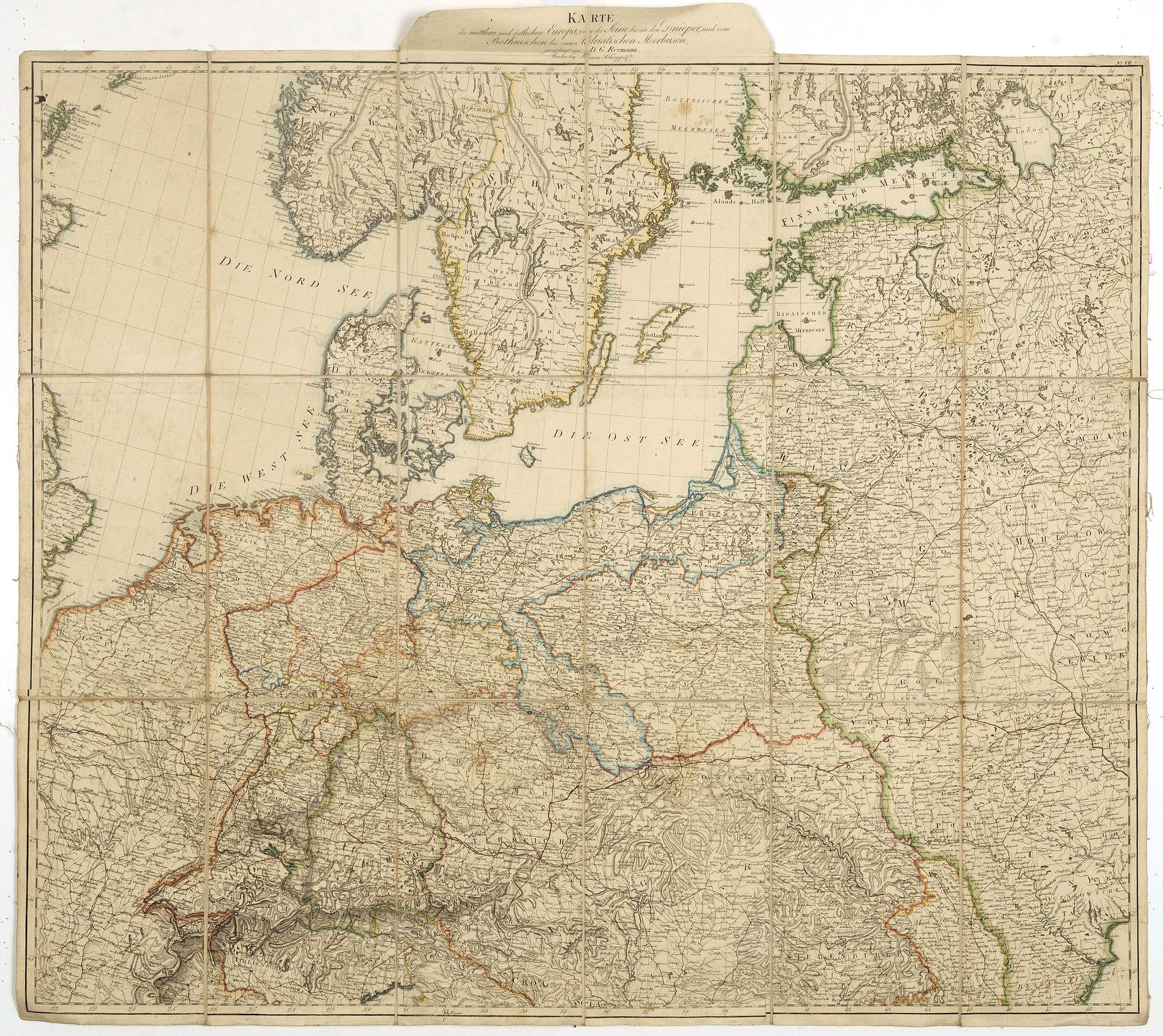 REYMANN, D. G. -  Karte des mittlern und östlichen Europa, von der Seine bis an der Dnieper. . .
