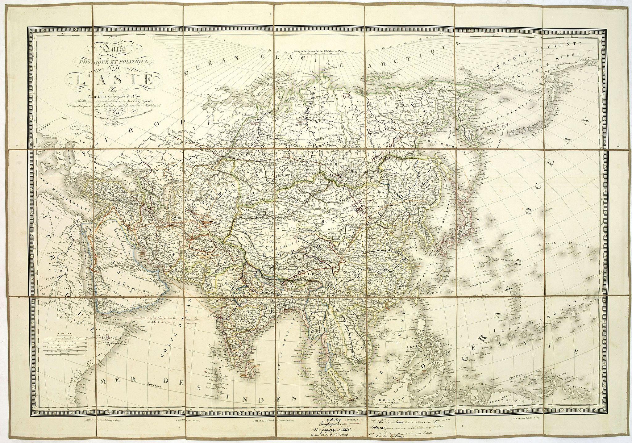 BRUE, A-H. -  Carte physique et politique de l