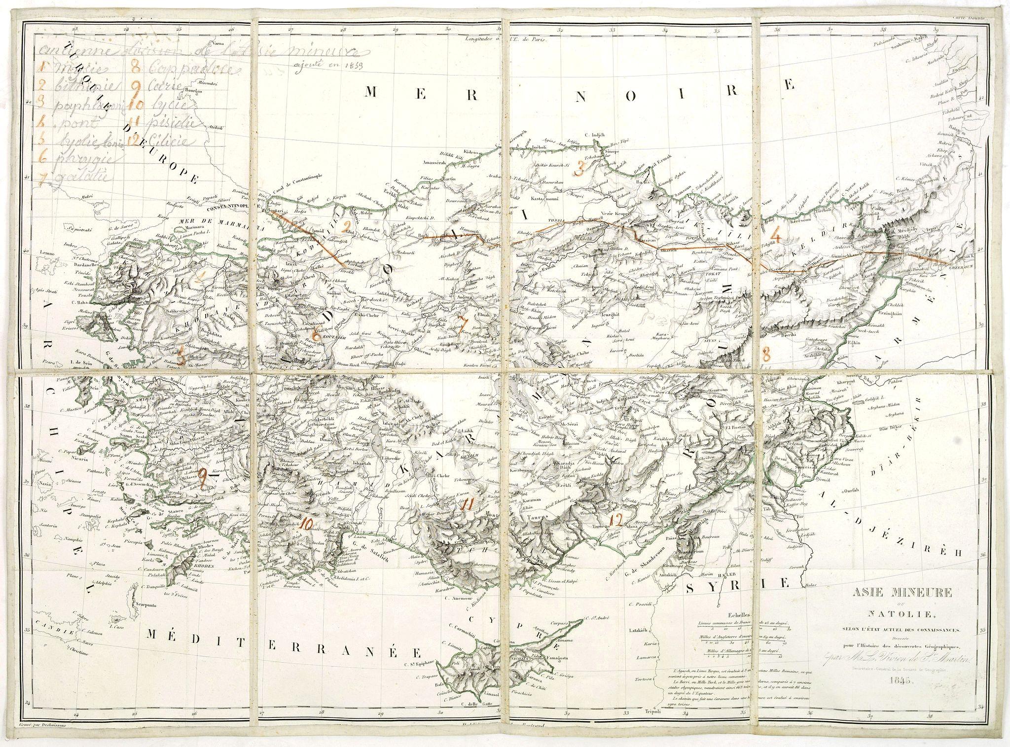 de Saint MARTIN, L-V. -  Asie mineure ou Natolie selon l'état actuel des connaissances. . .