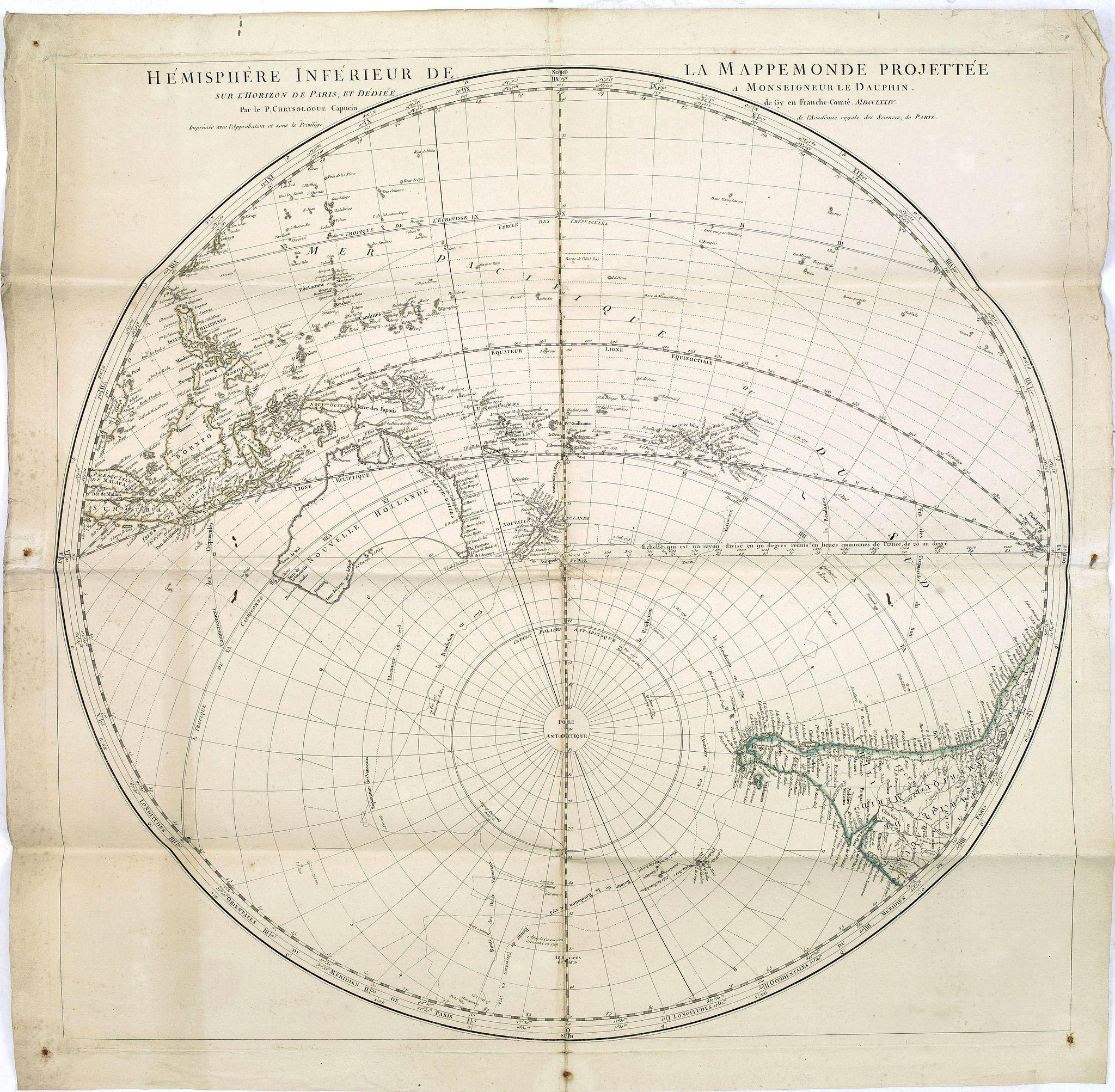 CHRYSOLOGUE, le père. - Hémisphere inférieur de la mappemonde projettée sur l'horizon de Paris,. . .