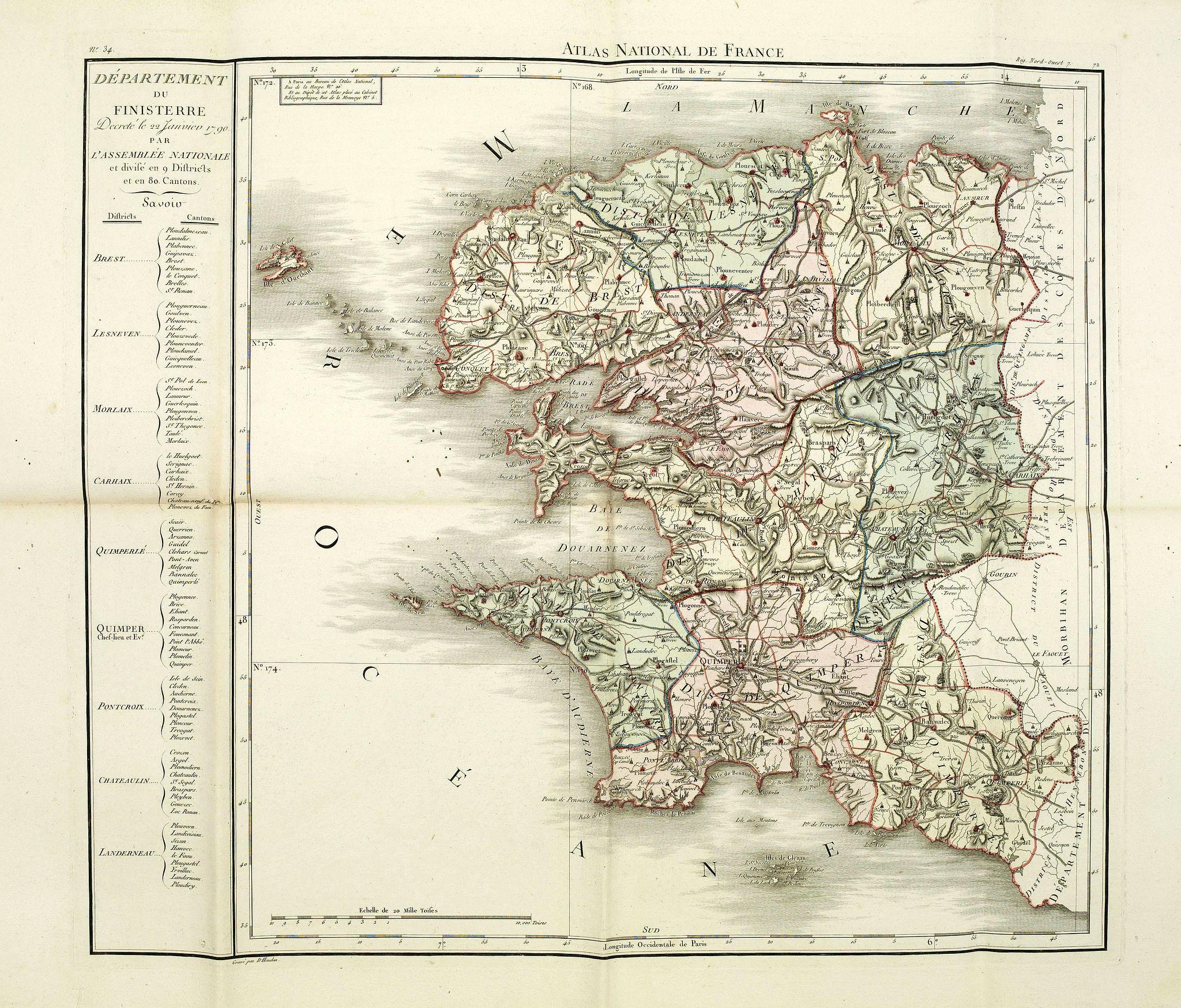 CHANLAIRE, P-G. & DUMEZ, P. -  Département du Finisterre decreté le 22 janvier 1790. . .