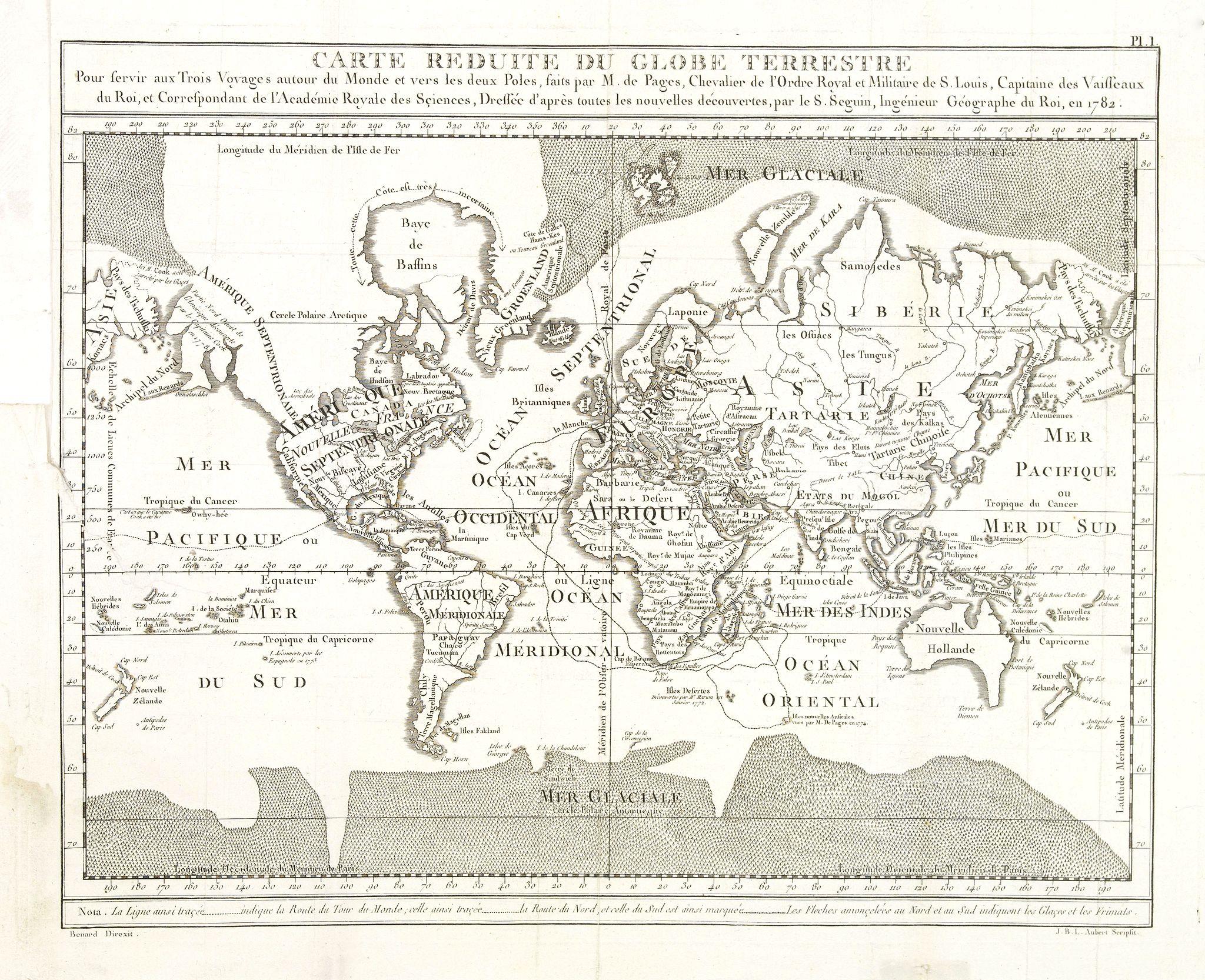 DE PAGE, P.M.F. -  Carte Reduite du globe Terrestre. . .