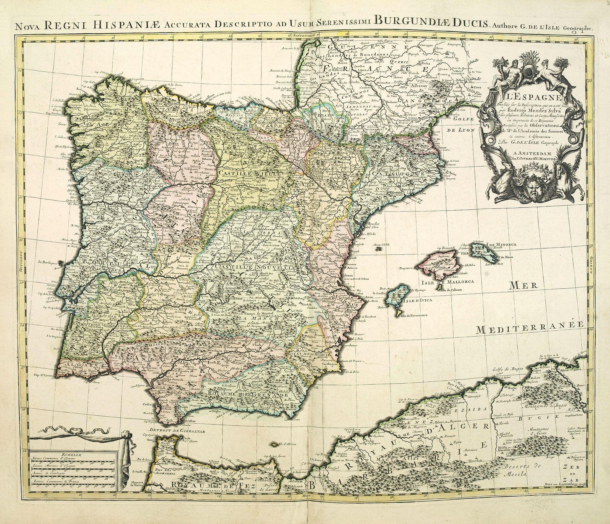 COVENS, J. / MORTIER, C. -  Nova Regni Hispaniae accurata descriptio ad u sum serenissimi Burgundiae ducis.
