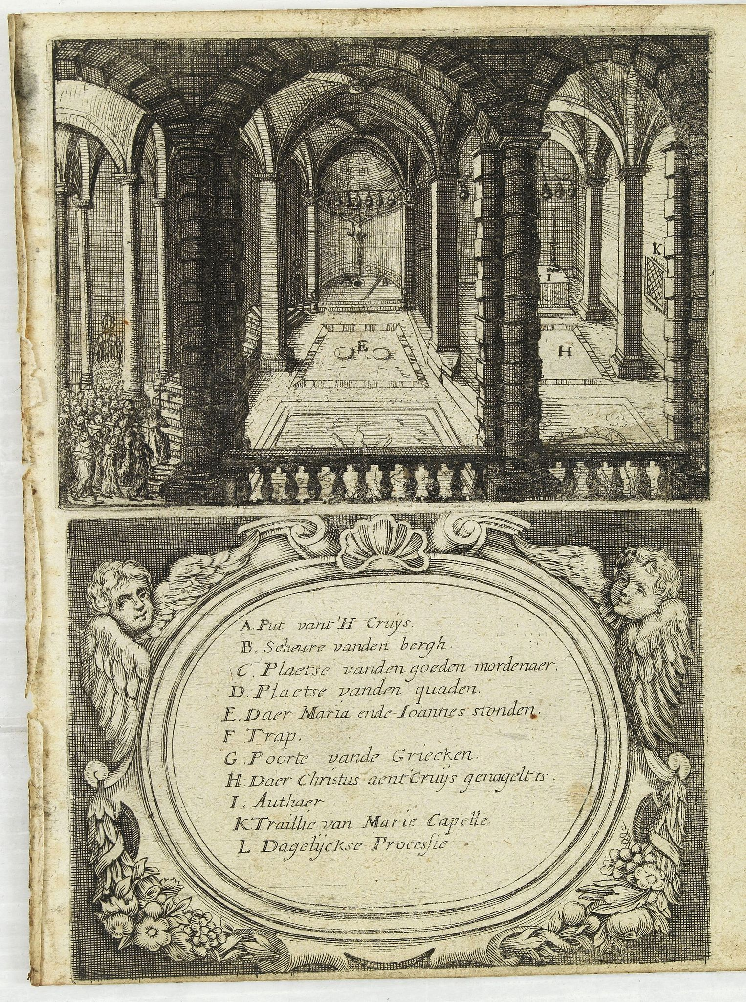 GONSALES, A,  [Illustration from Hierusalemsche Reyse.] Interieur of Church of the Holy Sepulchre., antique map, old maps