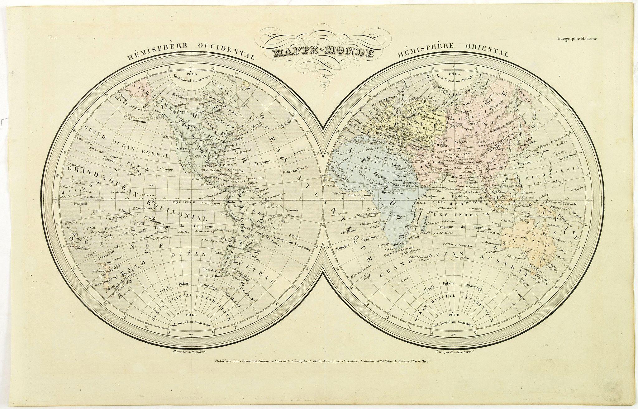 DUFOUR, A.H. -  Mappe-Monde.