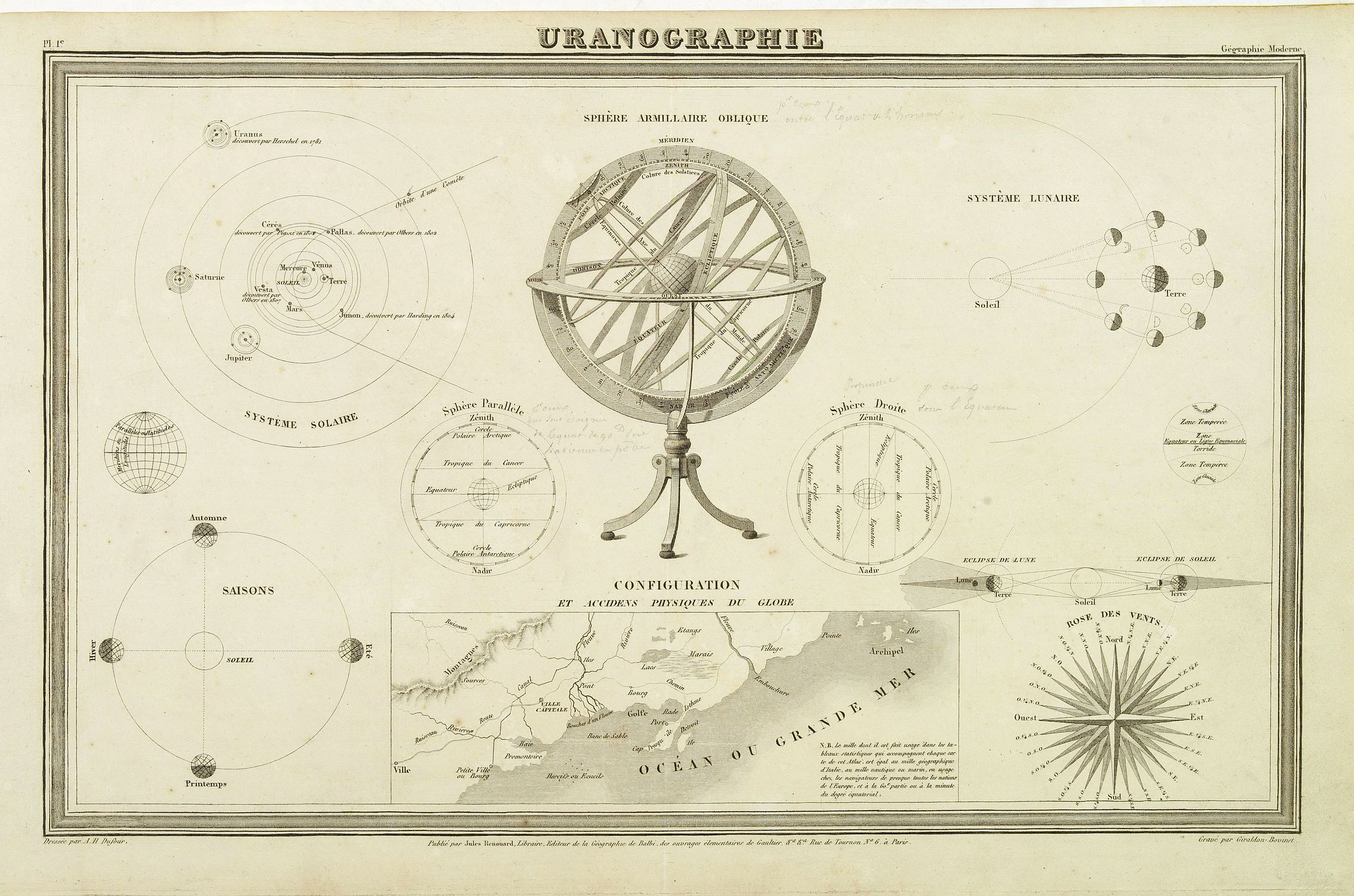 DUFOUR, A.H.,  Uranographie., antique map, old maps